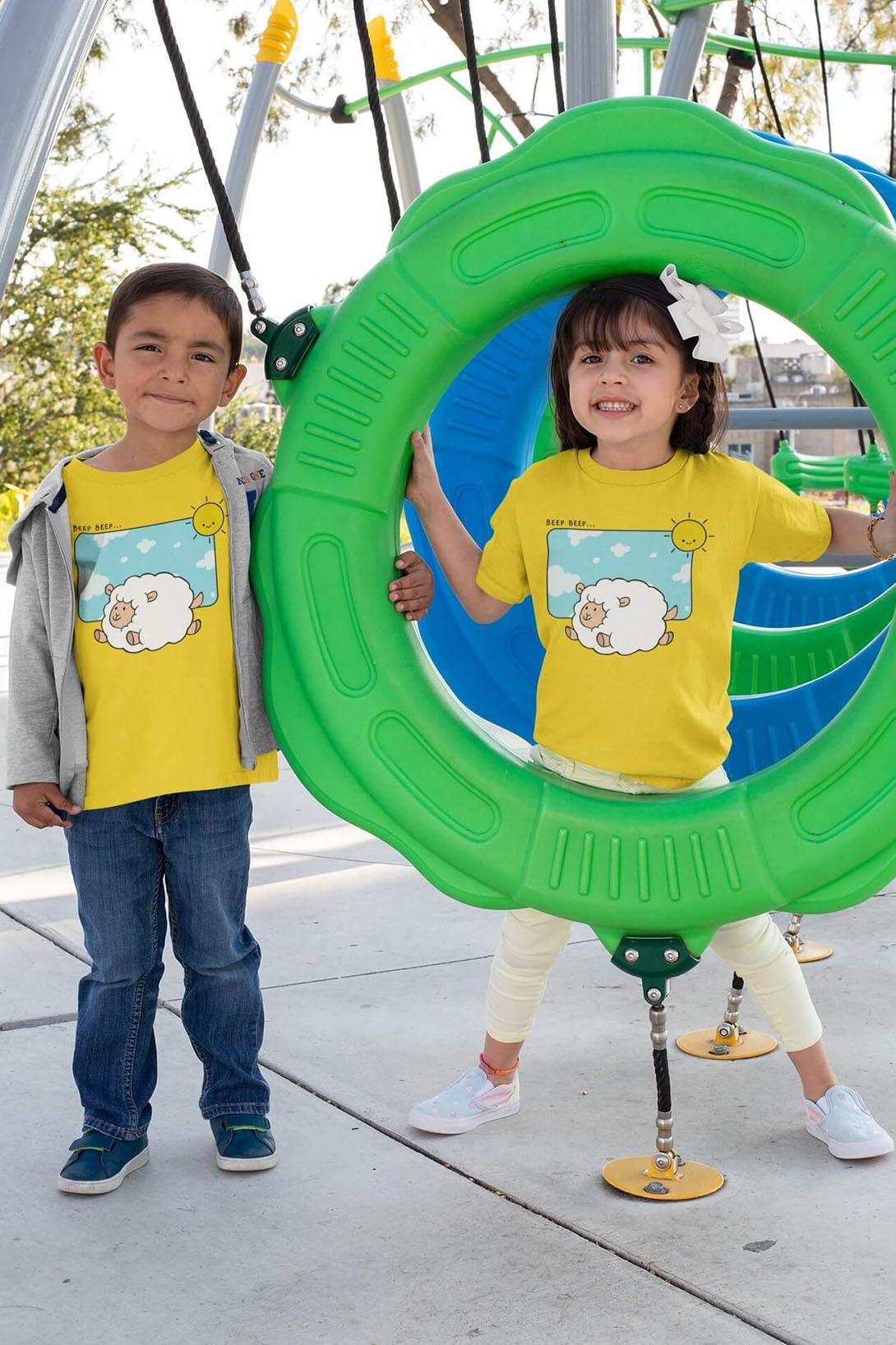 MMO Detské tričko Šťastná ovečka Vyberte farbu:: Denim, Detská veľkosť: 110/4 roky