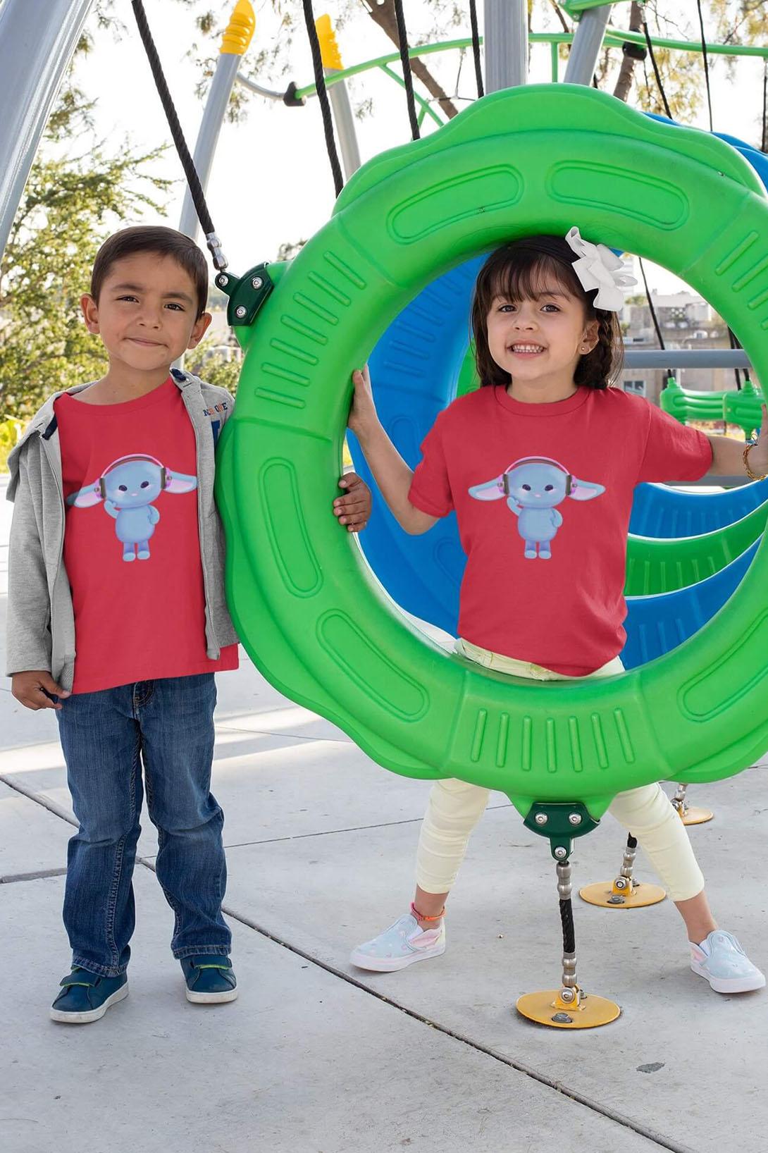 MMO Detské tričko Zajac so slúchadlami Vyberte farbu:: Trávová zelená, Detská veľkosť: 122/6 rokov