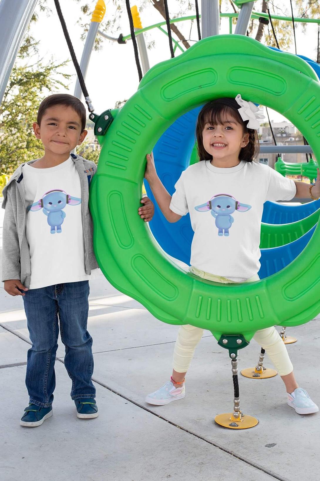 MMO Detské tričko Zajac so slúchadlami Vyberte farbu:: Biela, Detská veľkosť: 122/6 rokov