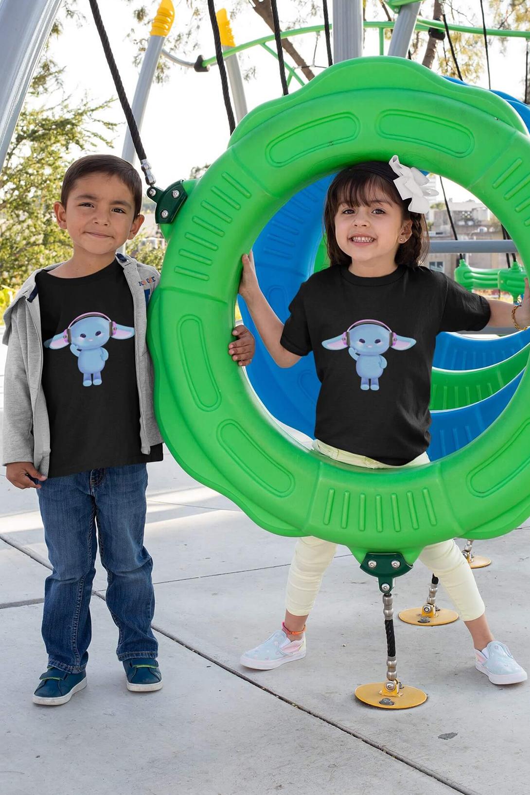 MMO Detské tričko Zajac so slúchadlami Vyberte farbu:: Čierna, Detská veľkosť: 146/10 rokov