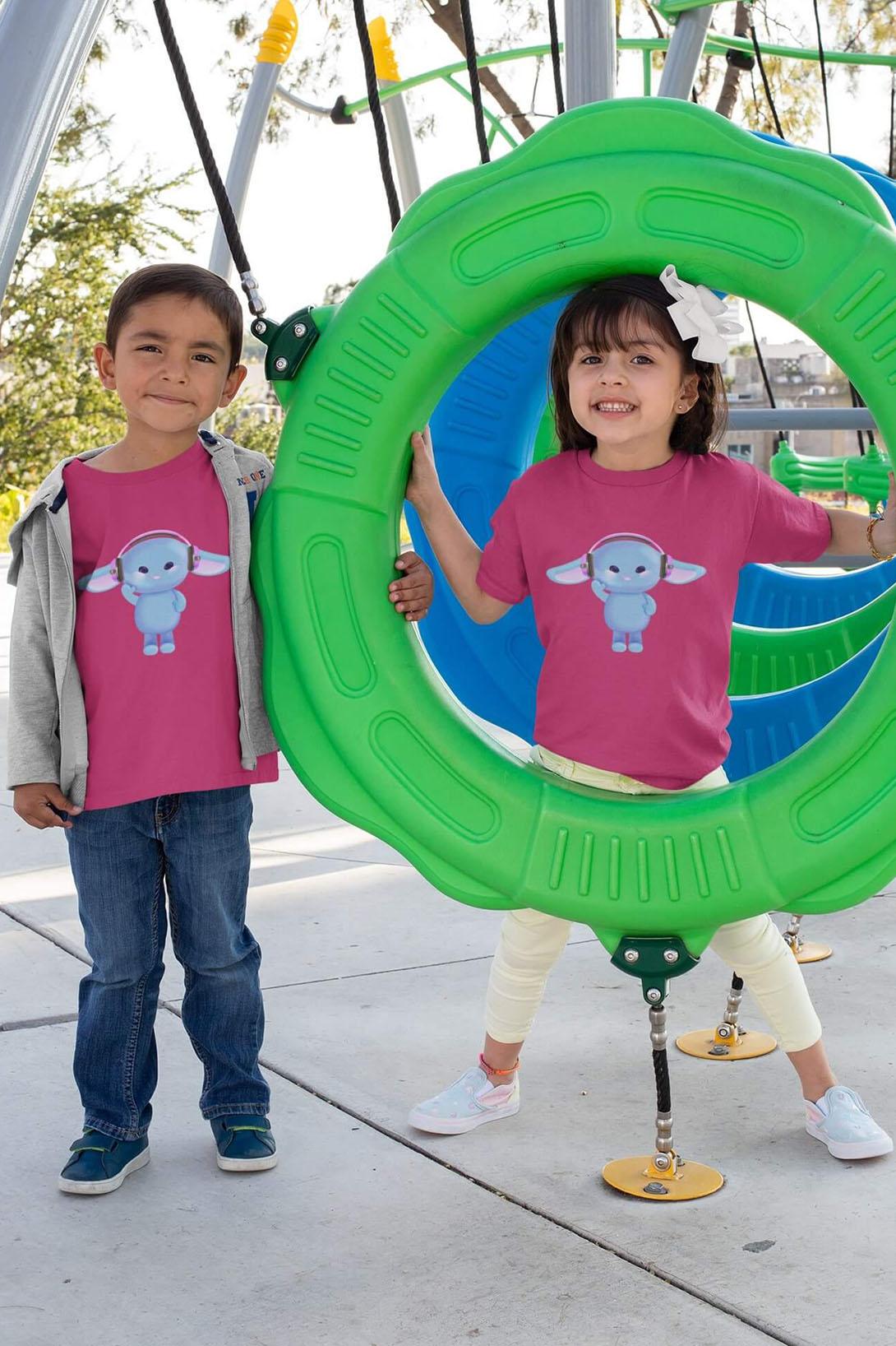 MMO Detské tričko Zajac so slúchadlami Vyberte farbu:: Denim, Detská veľkosť: 122/6 rokov