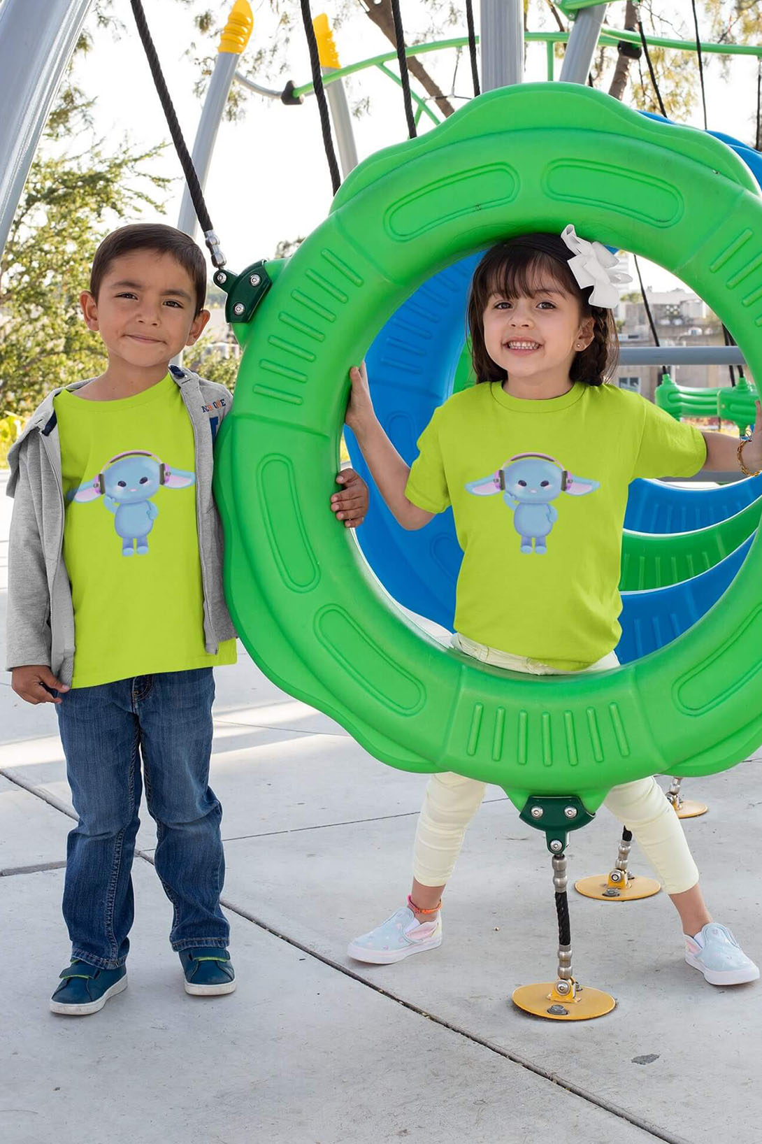 MMO Detské tričko Zajac so slúchadlami Vyberte farbu:: Žltá, Detská veľkosť: 122/6 rokov
