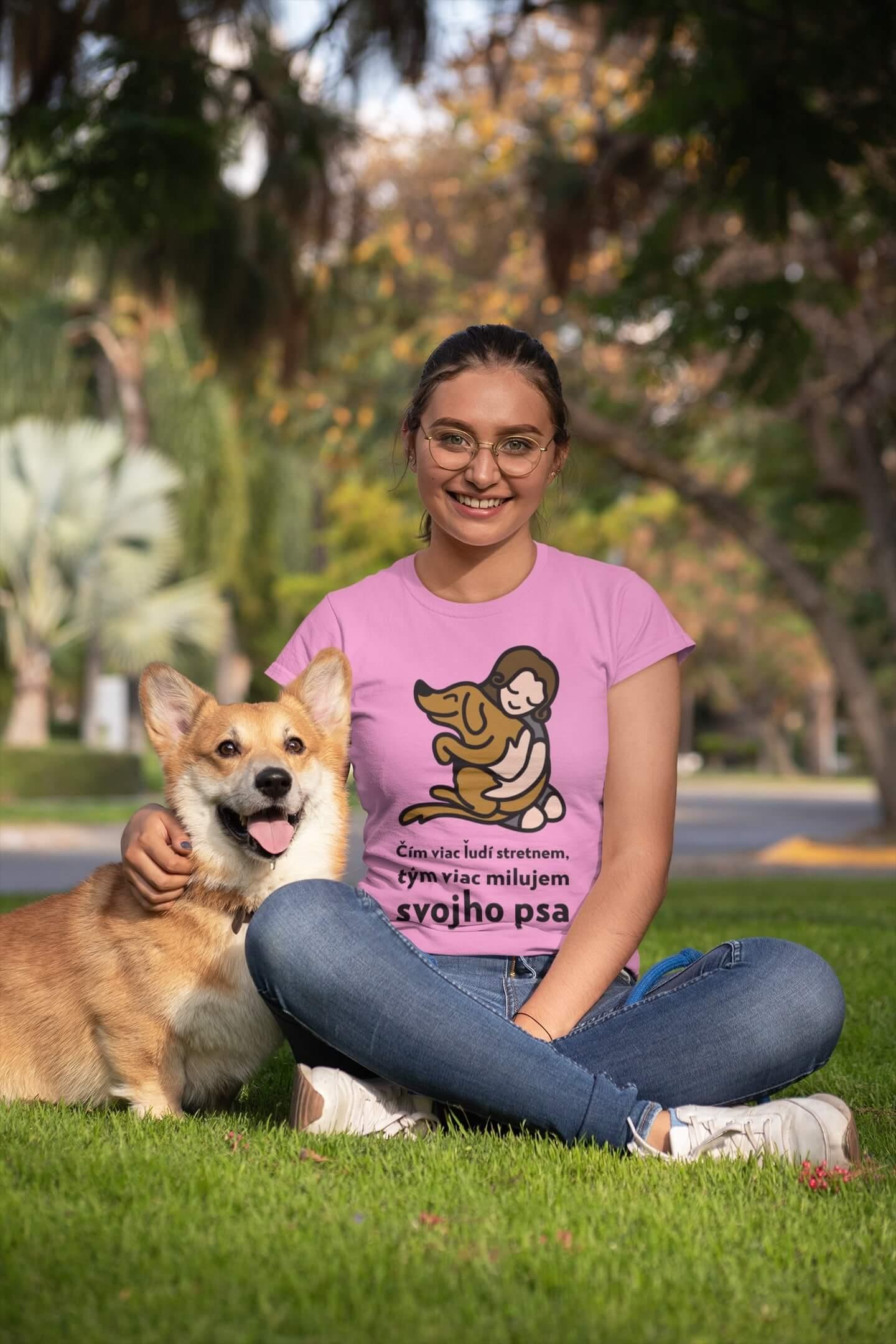 MMO Dámske tričko Milujem svojho psa Vyberte farbu: Ružová, Vyberte veľkosť: XS