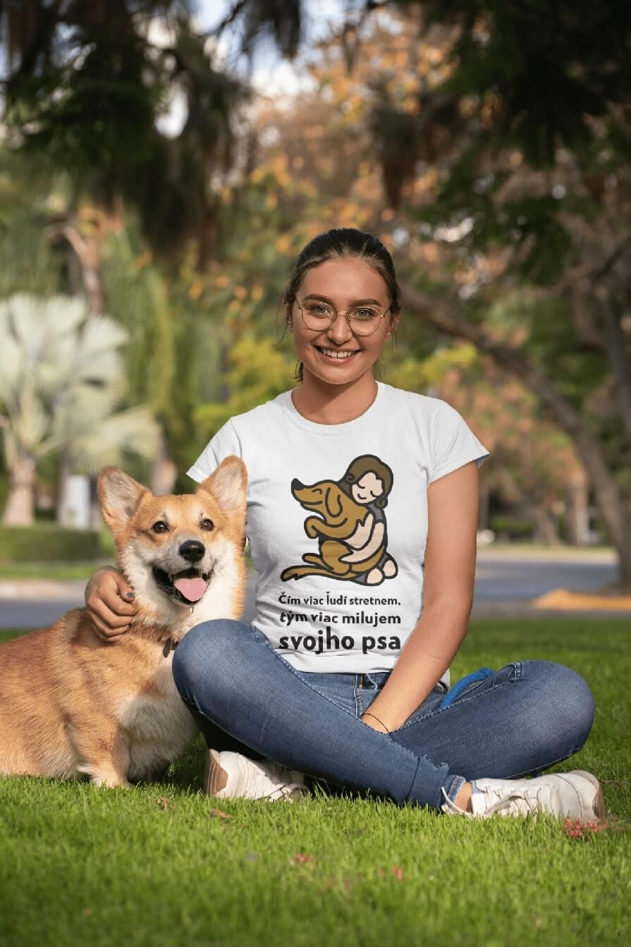 MMO Dámske tričko Milujem svojho psa Vyberte farbu: Biela, Vyberte veľkosť: XS