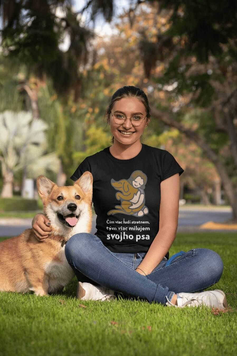 MMO Dámske tričko Milujem svojho psa Vyberte farbu: Čierna, Vyberte veľkosť: XS