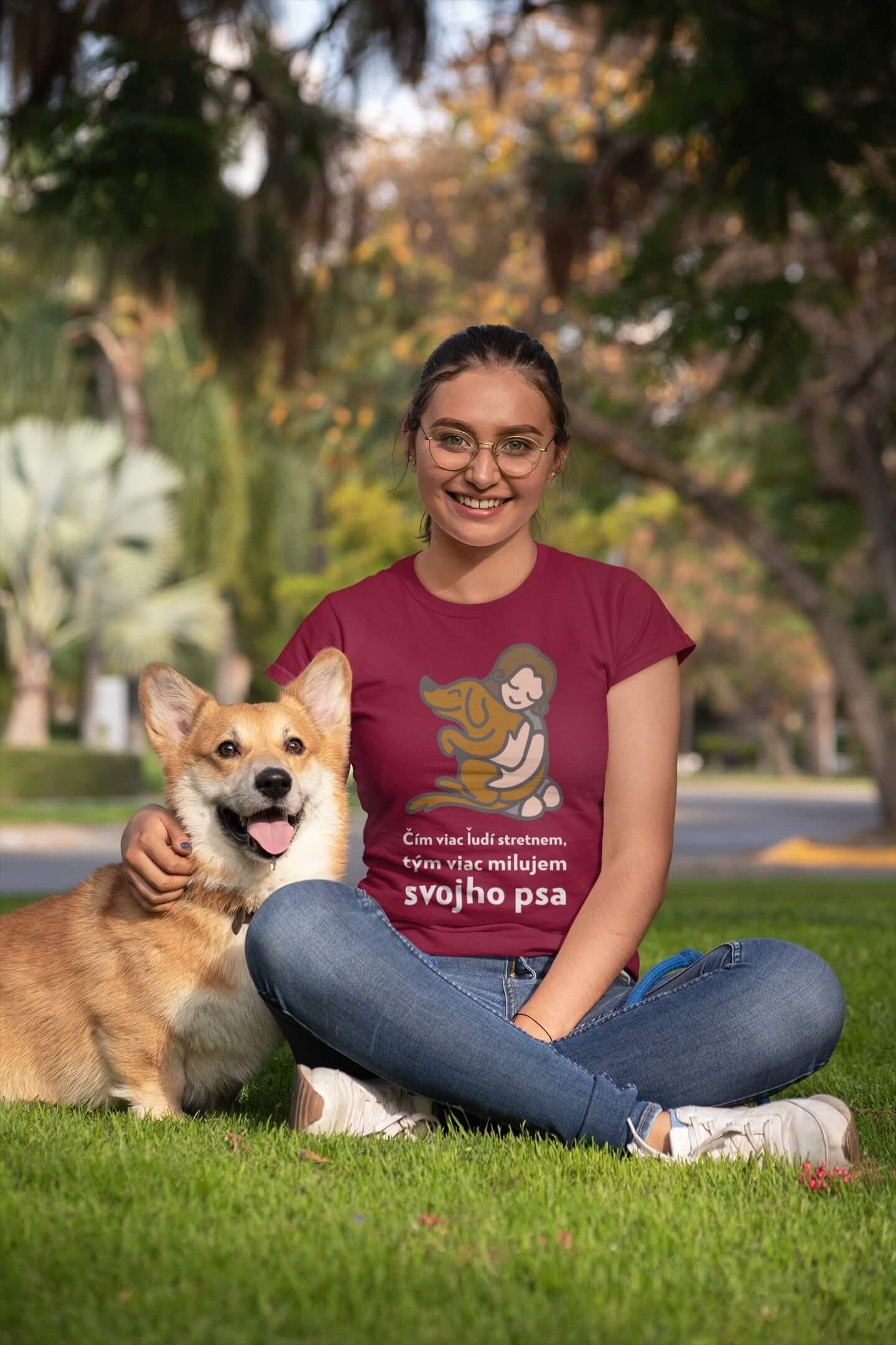 MMO Dámske tričko Milujem svojho psa Vyberte farbu: Marlboro červená, Vyberte veľkosť: XS