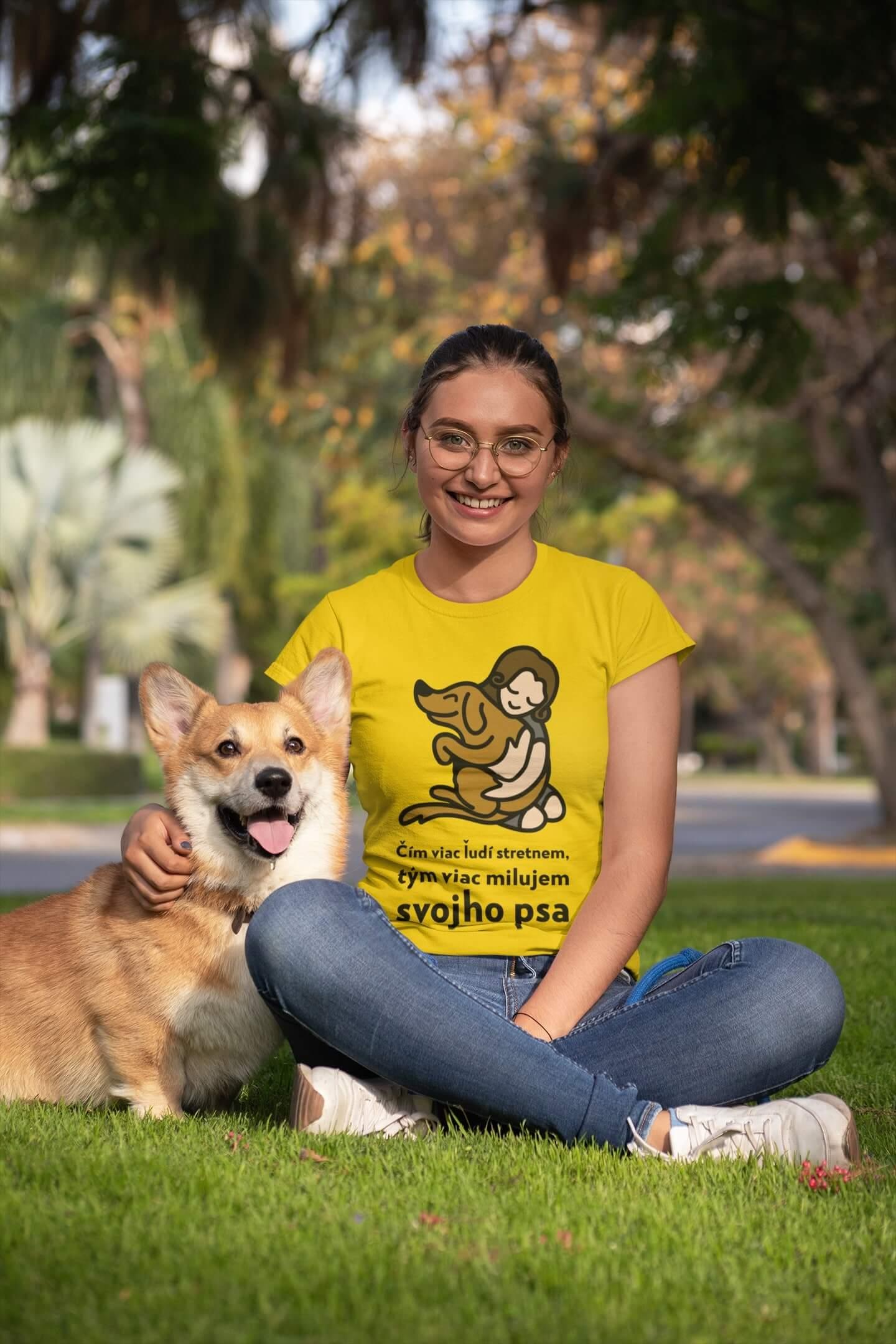 MMO Dámske tričko Milujem svojho psa Vyberte farbu: Žltá, Vyberte veľkosť: XS