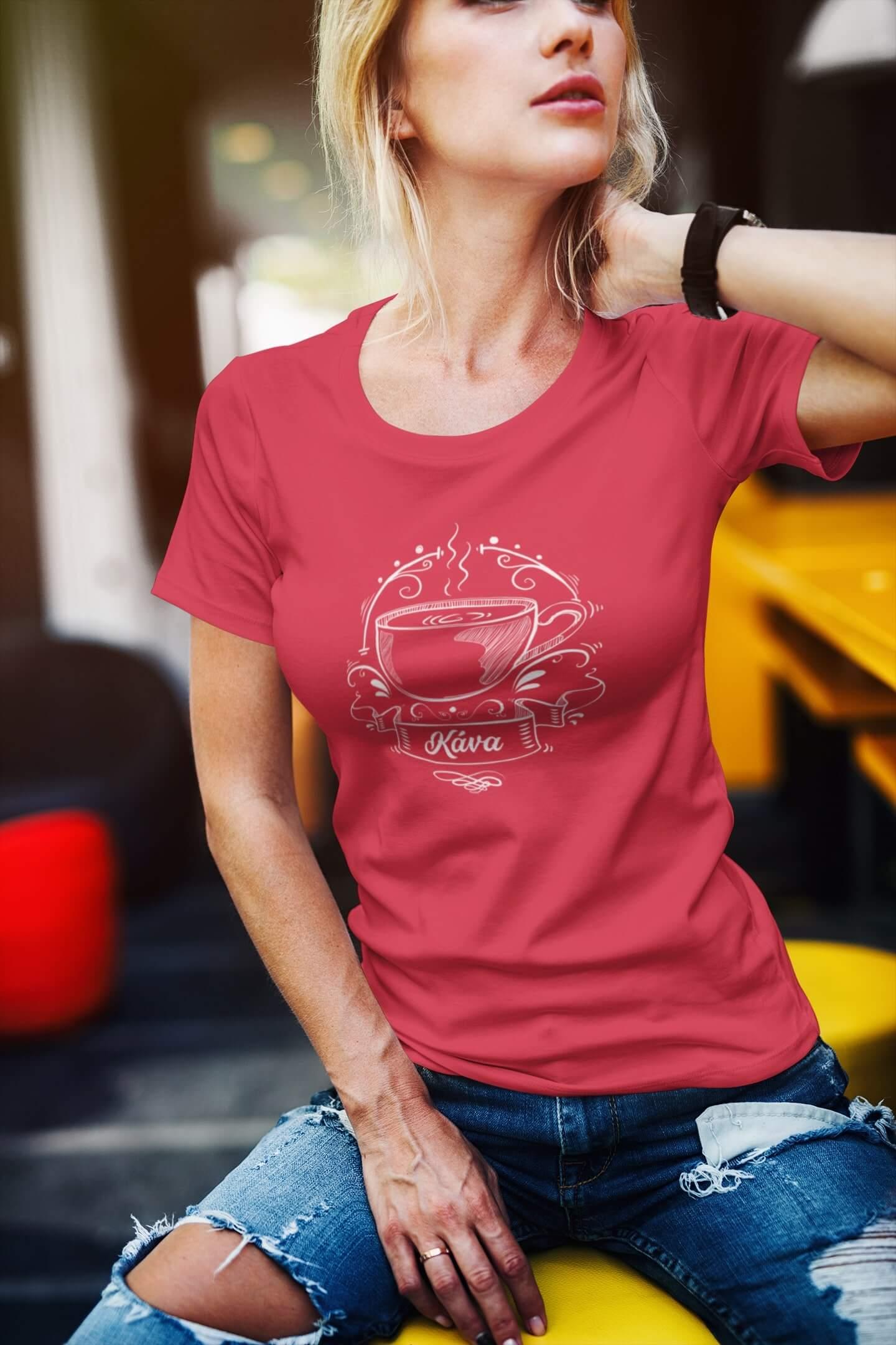 MMO Dámske tričko Kávička Vyberte farbu: Červená, Dámska veľkosť: M