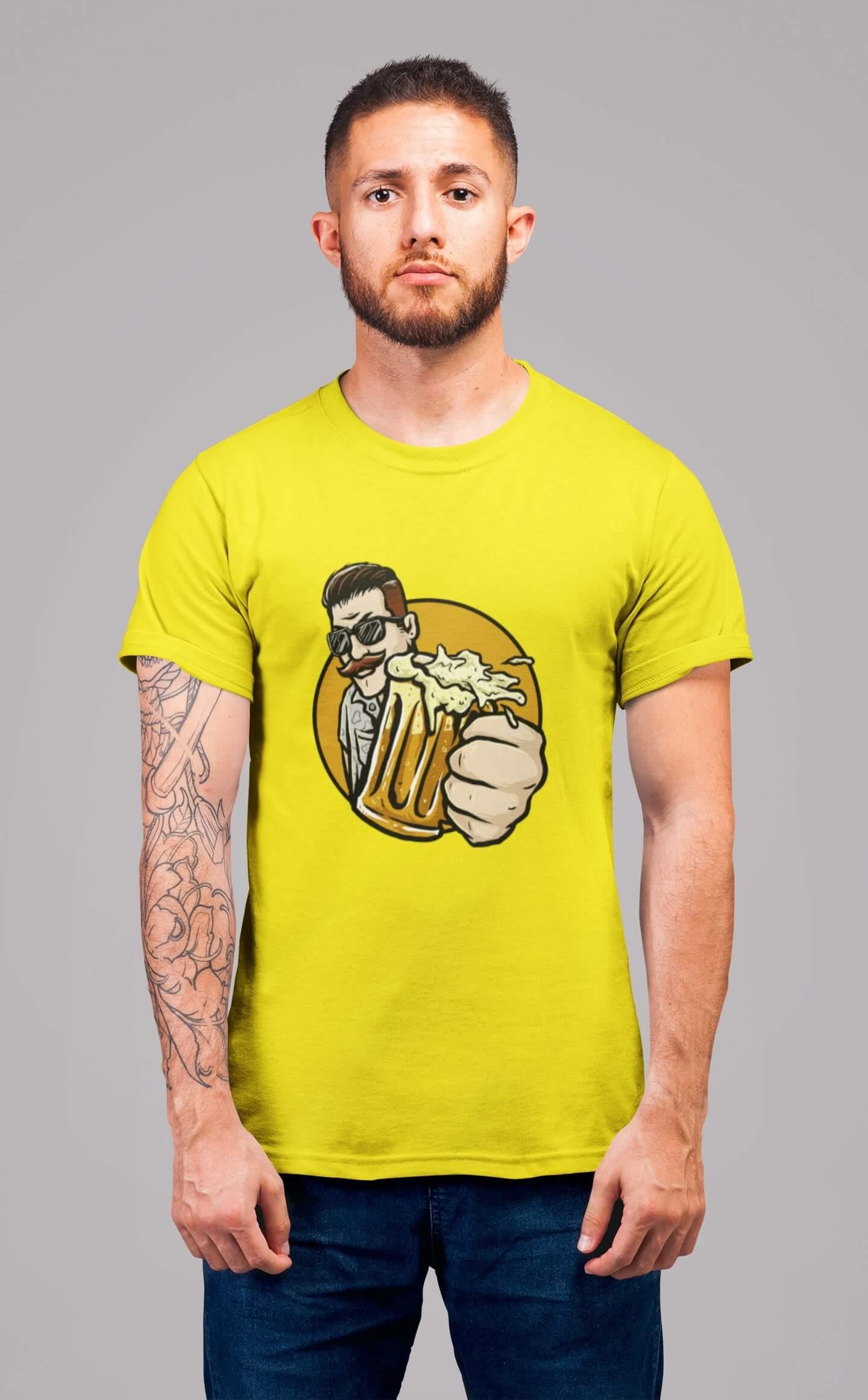 MMO Pánske tričko Chlap s pivom v ruke Vyberte farbu: Citrónová, Vyberte veľkosť: L