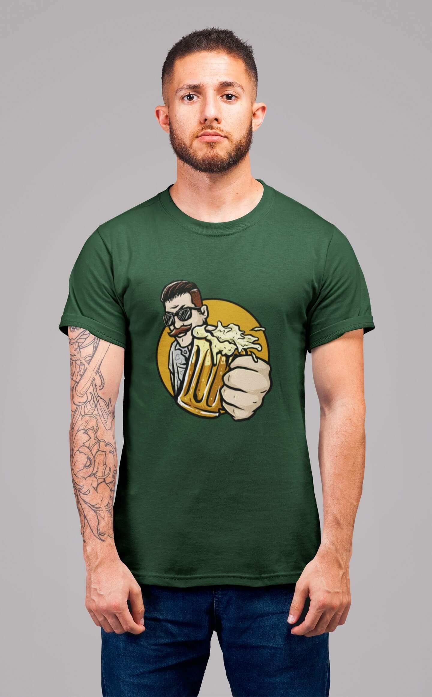 MMO Pánske tričko Chlap s pivom v ruke Vyberte farbu: Fľaškovozelená, Vyberte veľkosť: L
