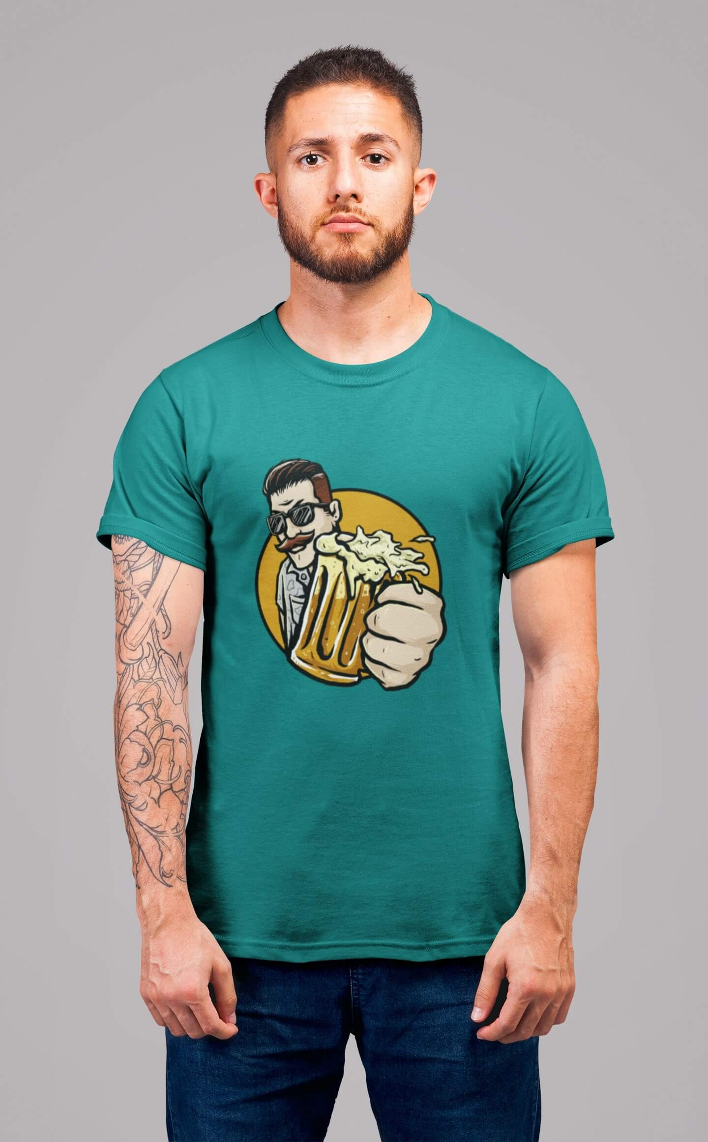 MMO Pánske tričko Chlap s pivom v ruke Vyberte farbu: Smaragdovozelená, Vyberte veľkosť: L