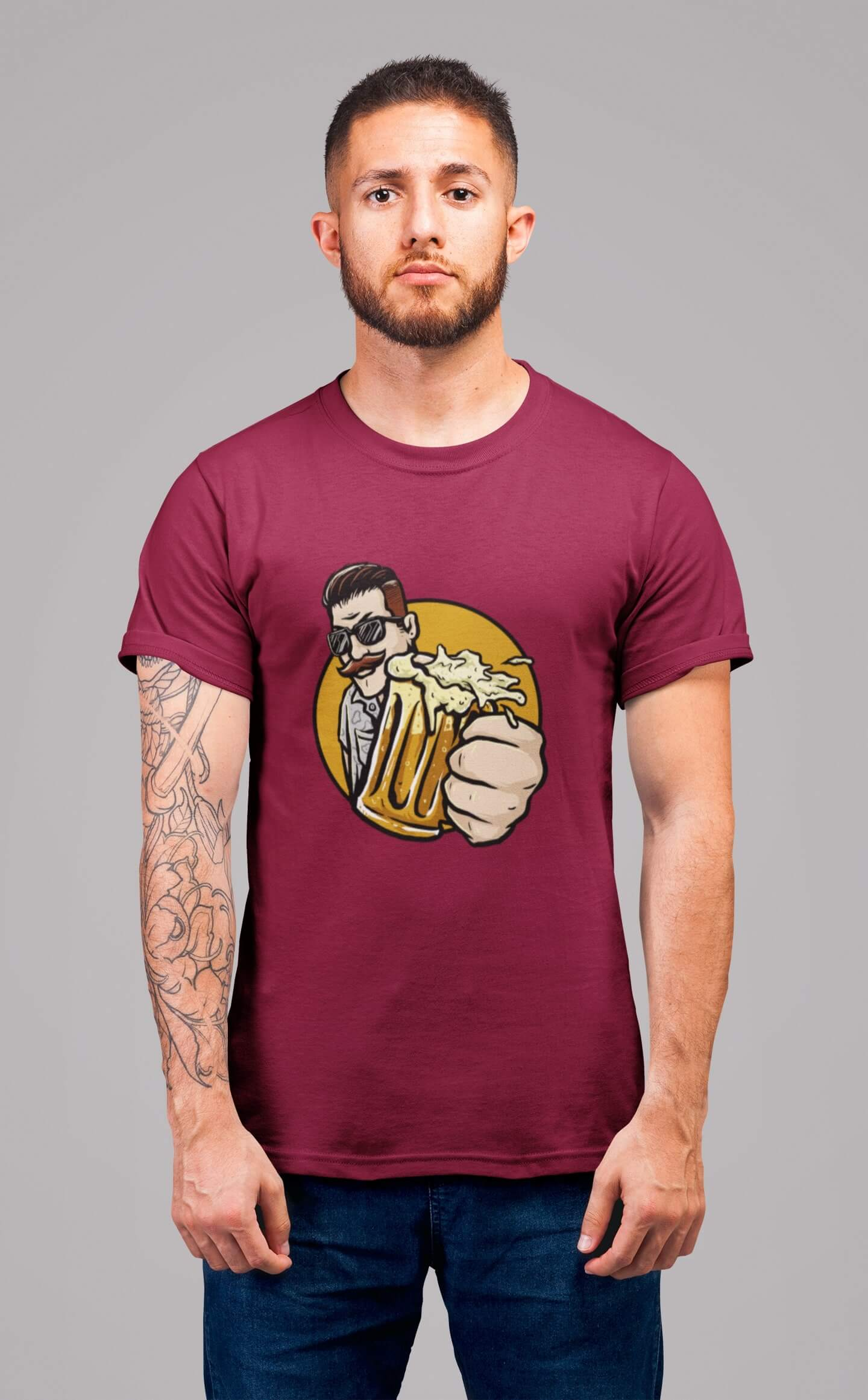 MMO Pánske tričko Chlap s pivom v ruke Vyberte farbu: Marlboro červená, Vyberte veľkosť: S