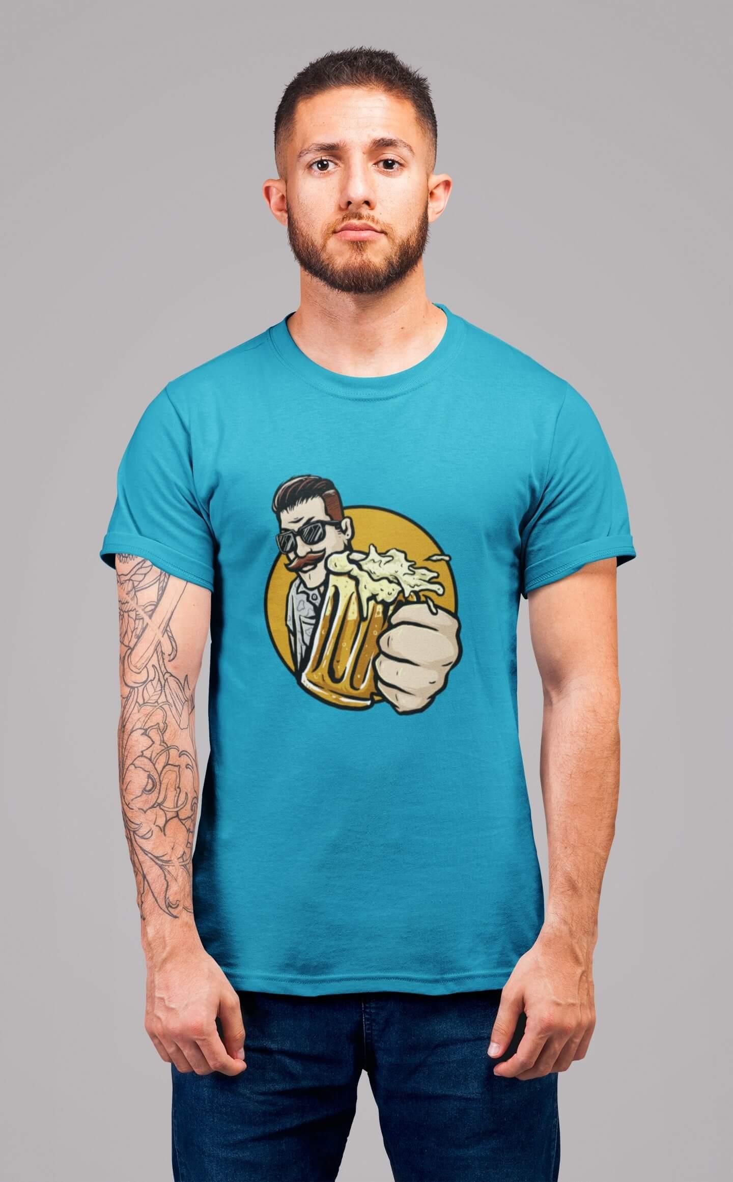 MMO Pánske tričko Chlap s pivom v ruke Vyberte farbu: Tyrkysová, Vyberte veľkosť: L