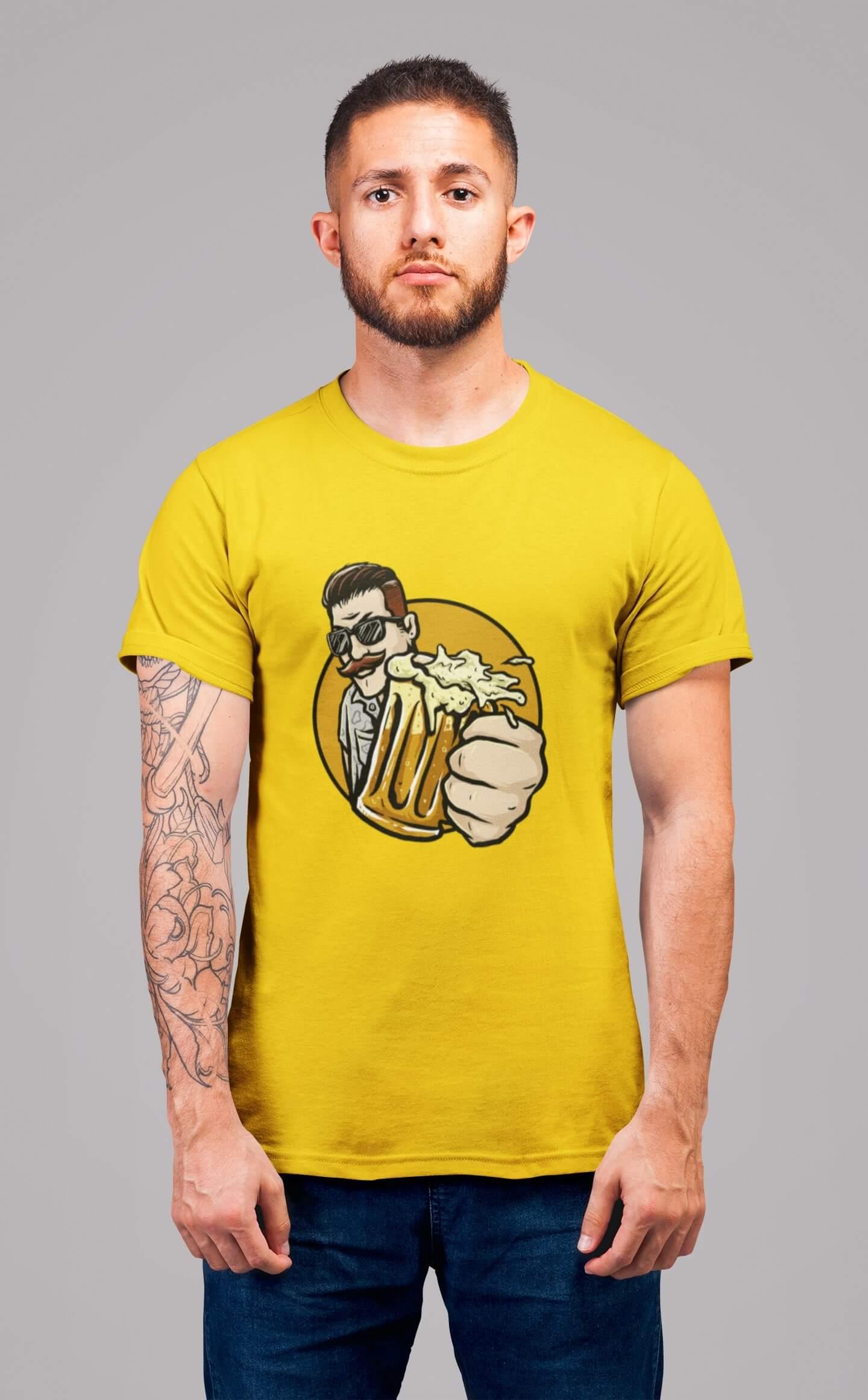 MMO Pánske tričko Chlap s pivom v ruke Vyberte farbu: Žltá, Vyberte veľkosť: L