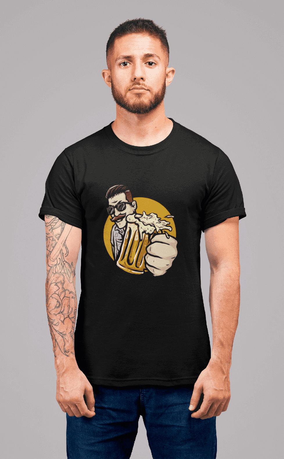 MMO Pánske tričko Chlap s pivom v ruke Vyberte farbu: Čierna, Vyberte veľkosť: L