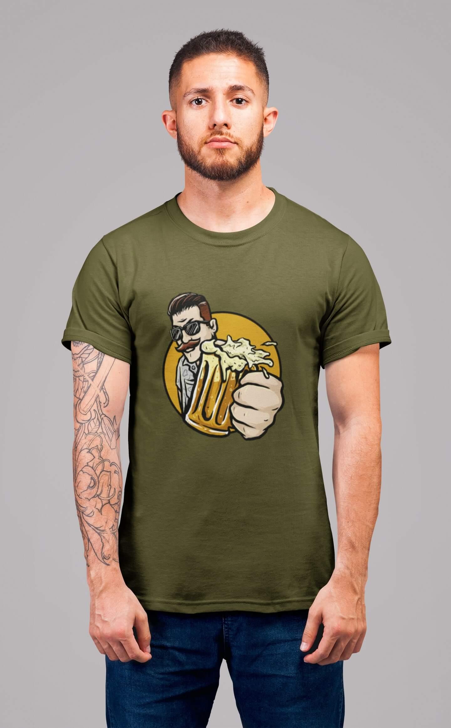 MMO Pánske tričko Chlap s pivom v ruke Vyberte farbu: Khaki, Vyberte veľkosť: L