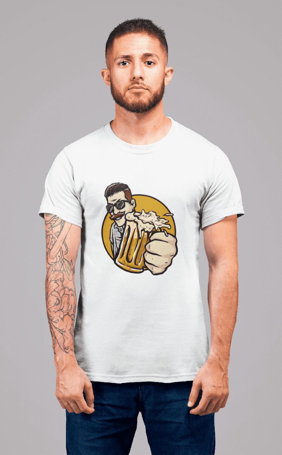 MMO Pánske tričko Chlap s pivom v ruke Vyberte farbu: Biela, Vyberte veľkosť: L