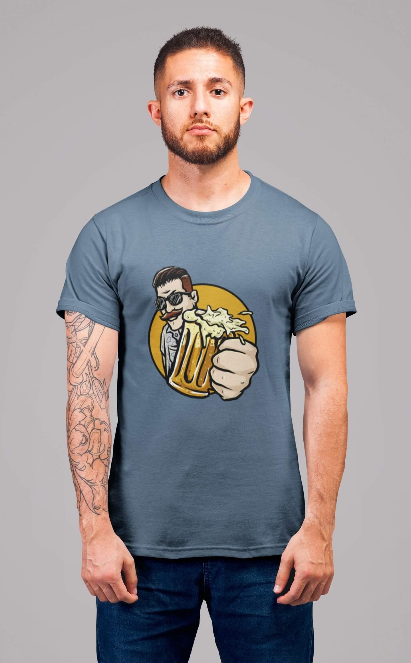 MMO Pánske tričko Chlap s pivom v ruke Vyberte farbu: Denim, Vyberte veľkosť: L