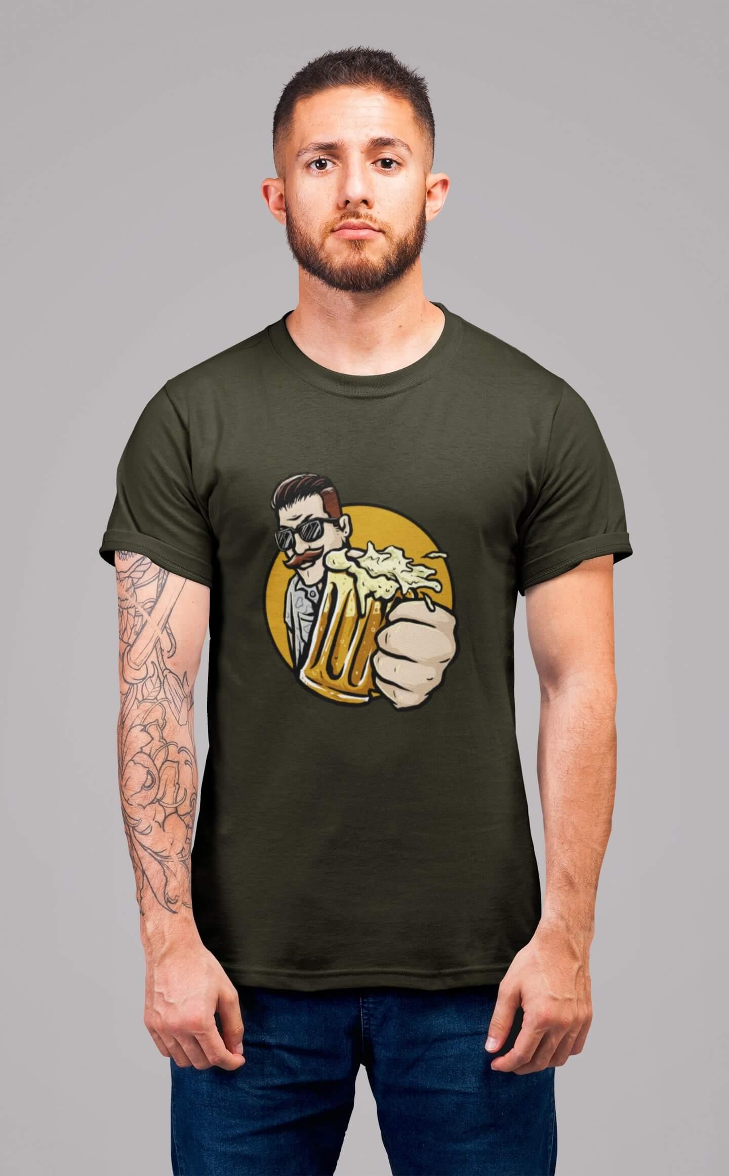MMO Pánske tričko Chlap s pivom v ruke Vyberte farbu: Military, Vyberte veľkosť: L