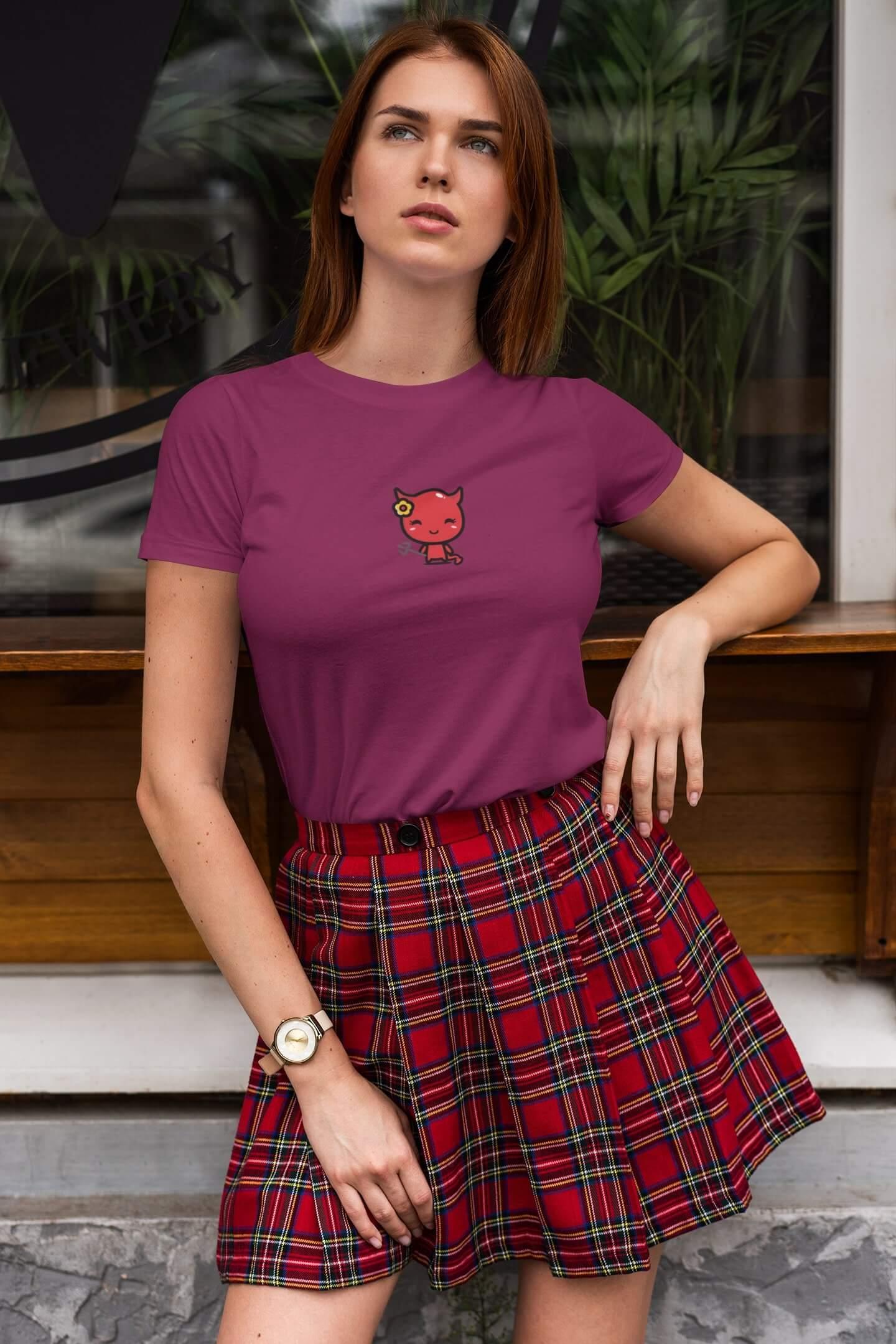 MMO Dámske tričko Čert s kvietkom Vyberte farbu: Fuchsiovo červená, Vyberte veľkosť: XL