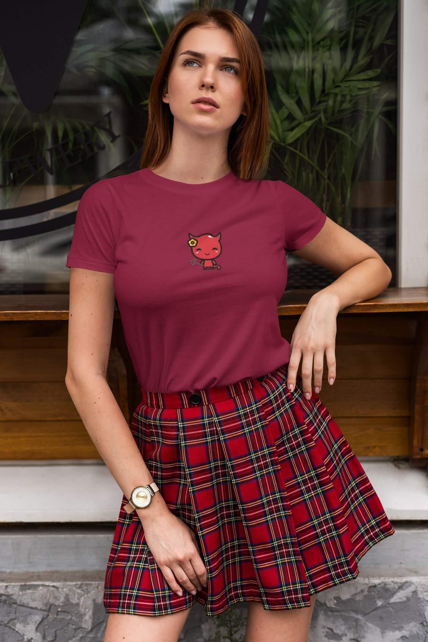 MMO Dámske tričko Čert s kvietkom Vyberte farbu: Marlboro červená, Vyberte veľkosť: XL