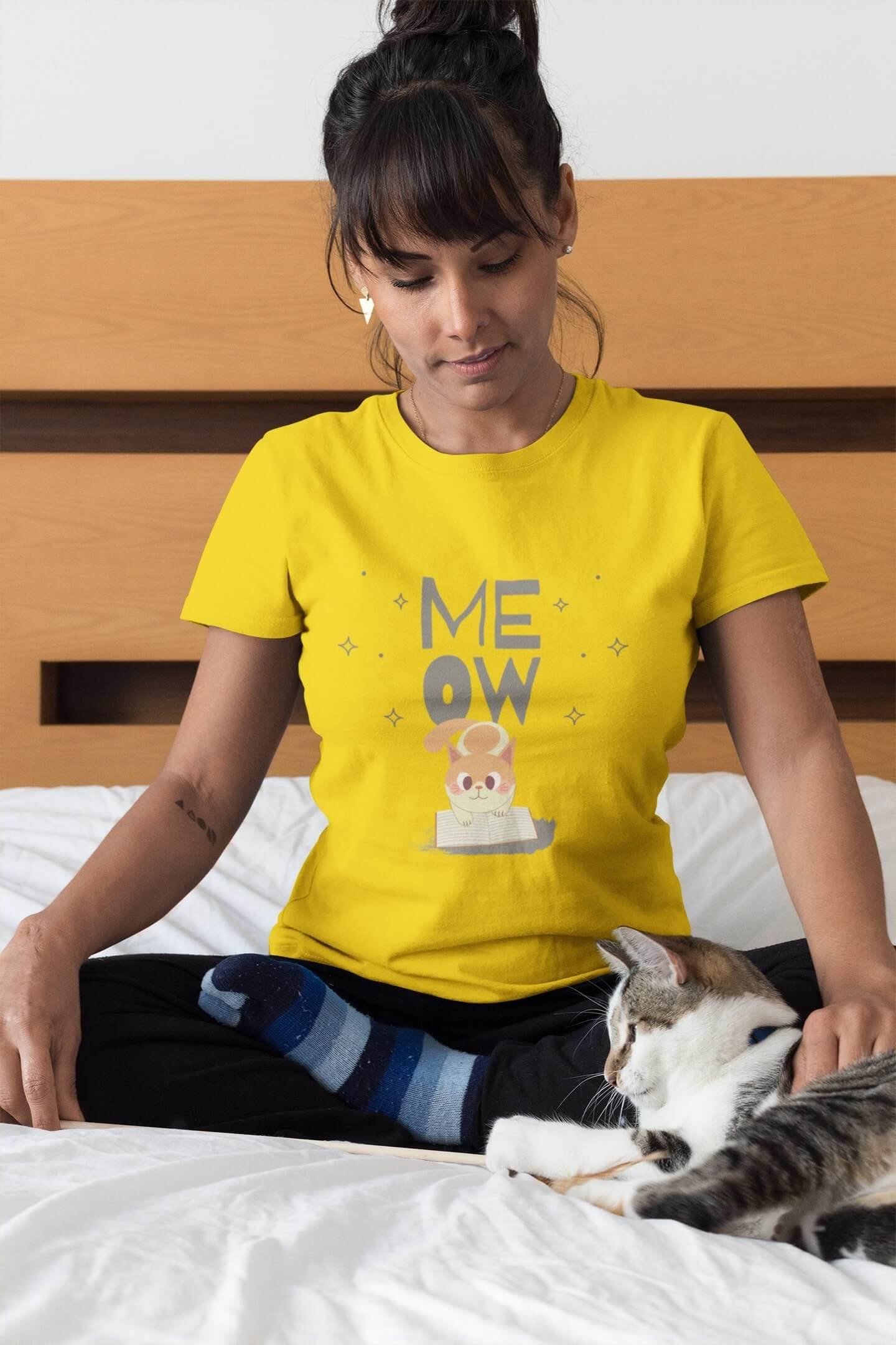 MMO Dámske tričko Mačička s knihou Vyberte farbu: Žltá, Dámska veľkosť: S