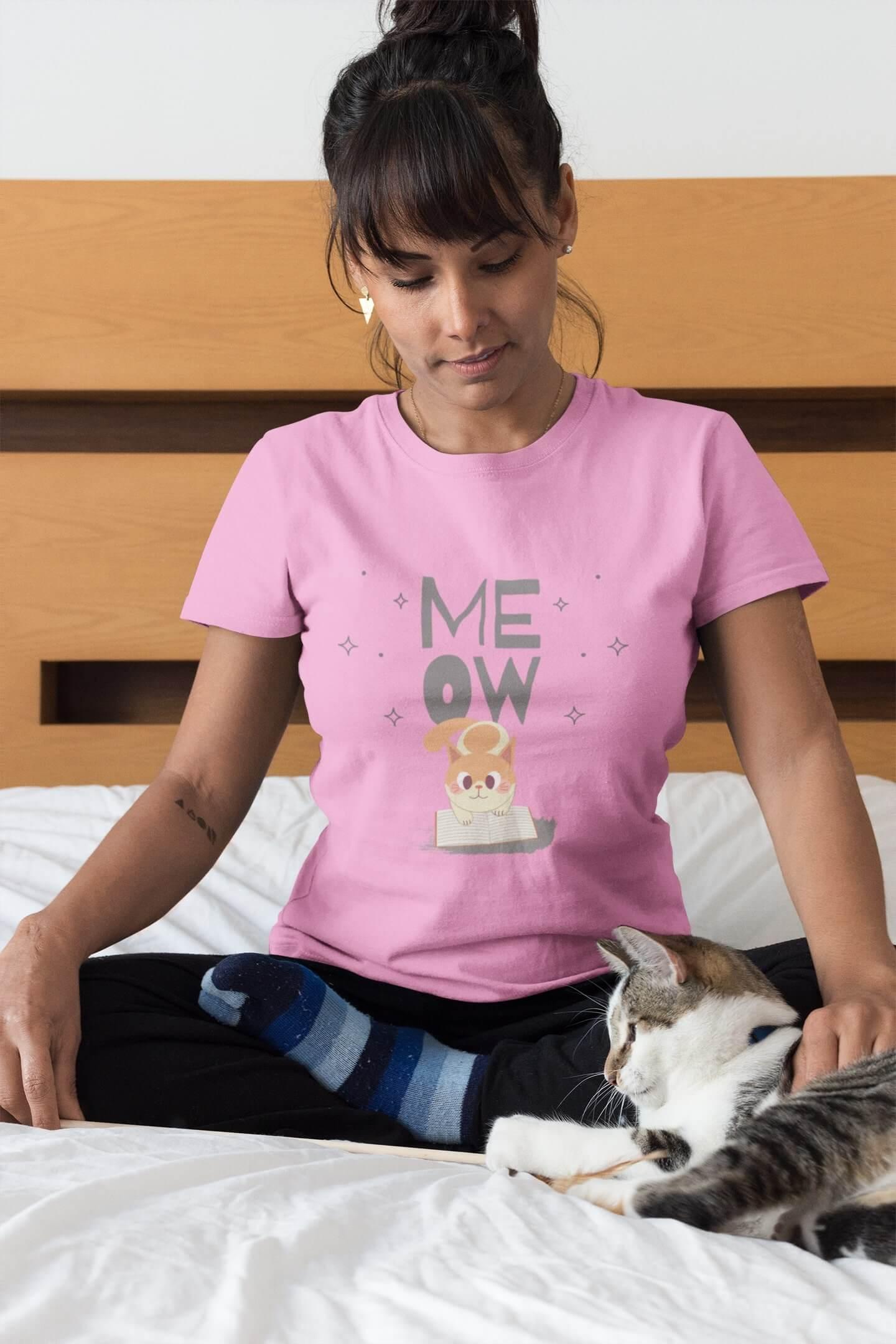 MMO Dámske tričko Mačička s knihou Vyberte farbu: Ružová, Dámska veľkosť: S