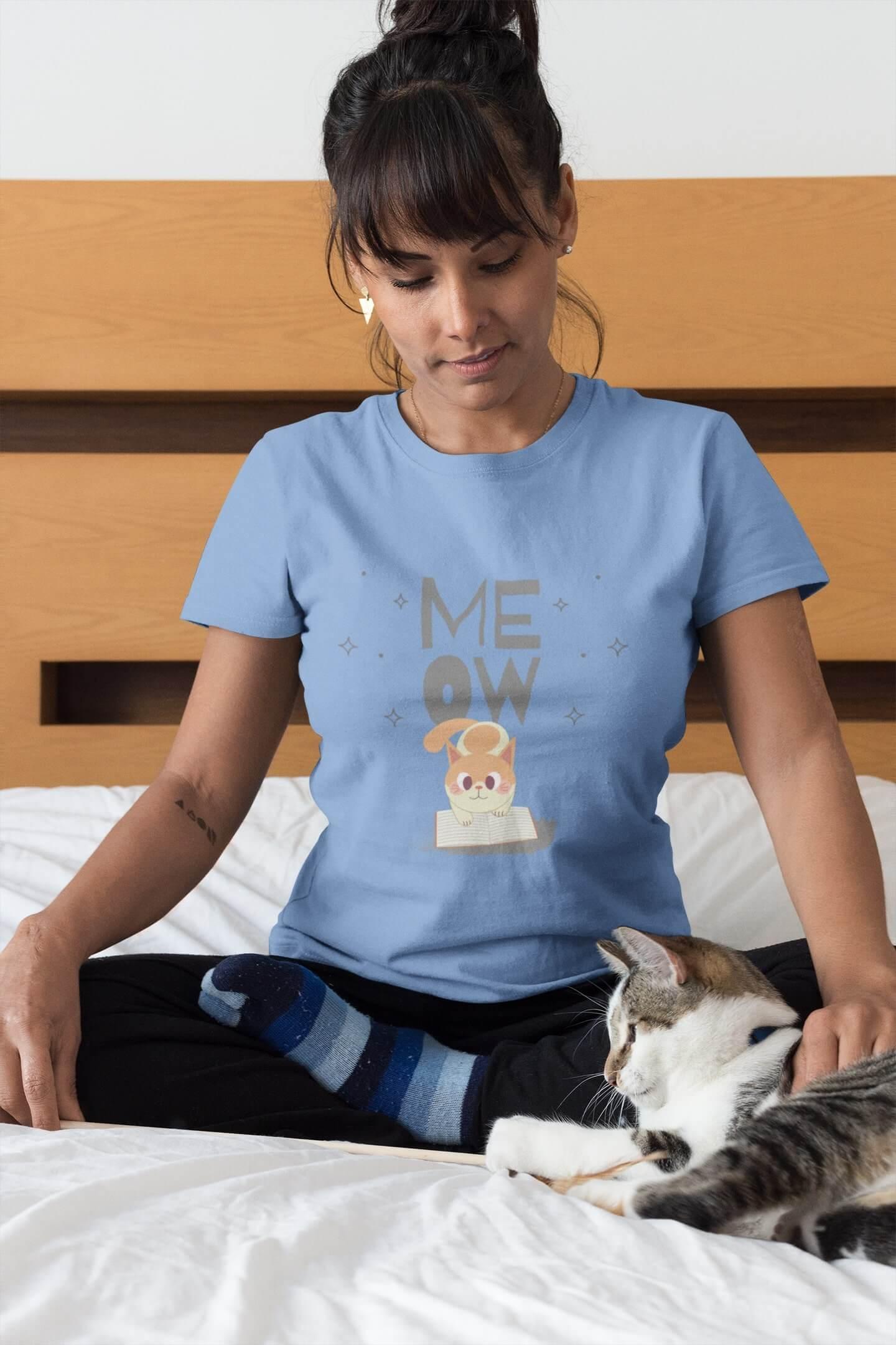 MMO Dámske tričko Mačička s knihou Vyberte farbu: Svetlomodrá, Dámska veľkosť: S