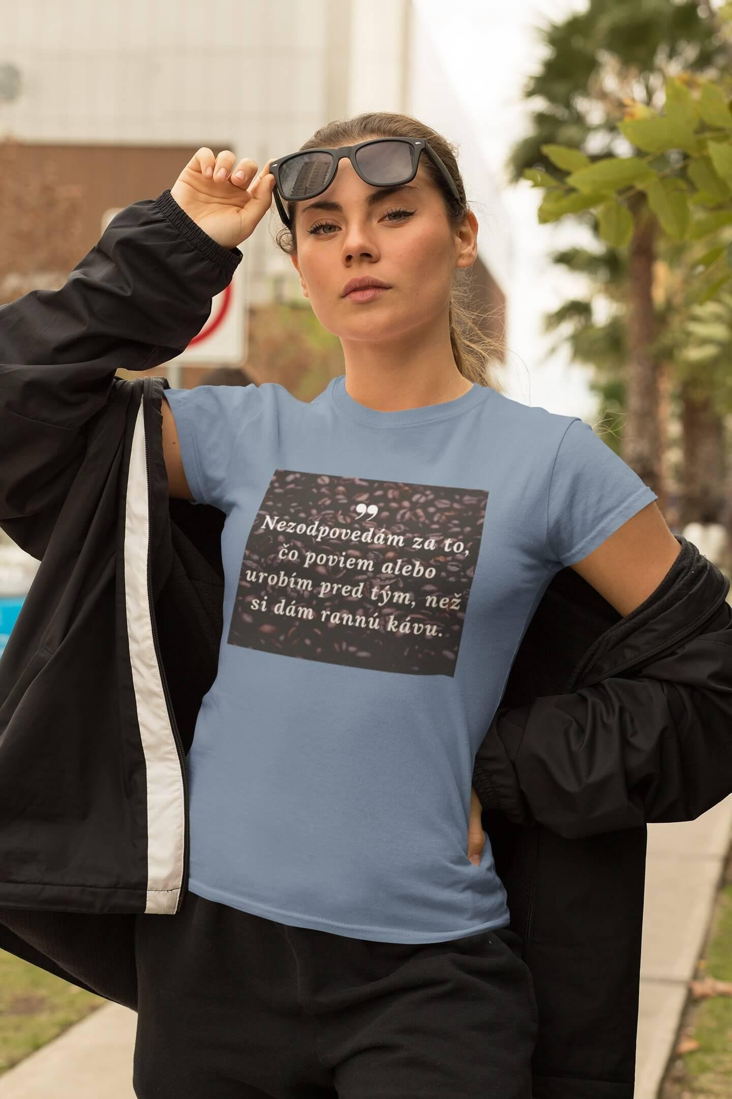 MMO Dámske tričko ranná káva Vyberte farbu:: Svetlomodrá, Dámska veľkosť: XS