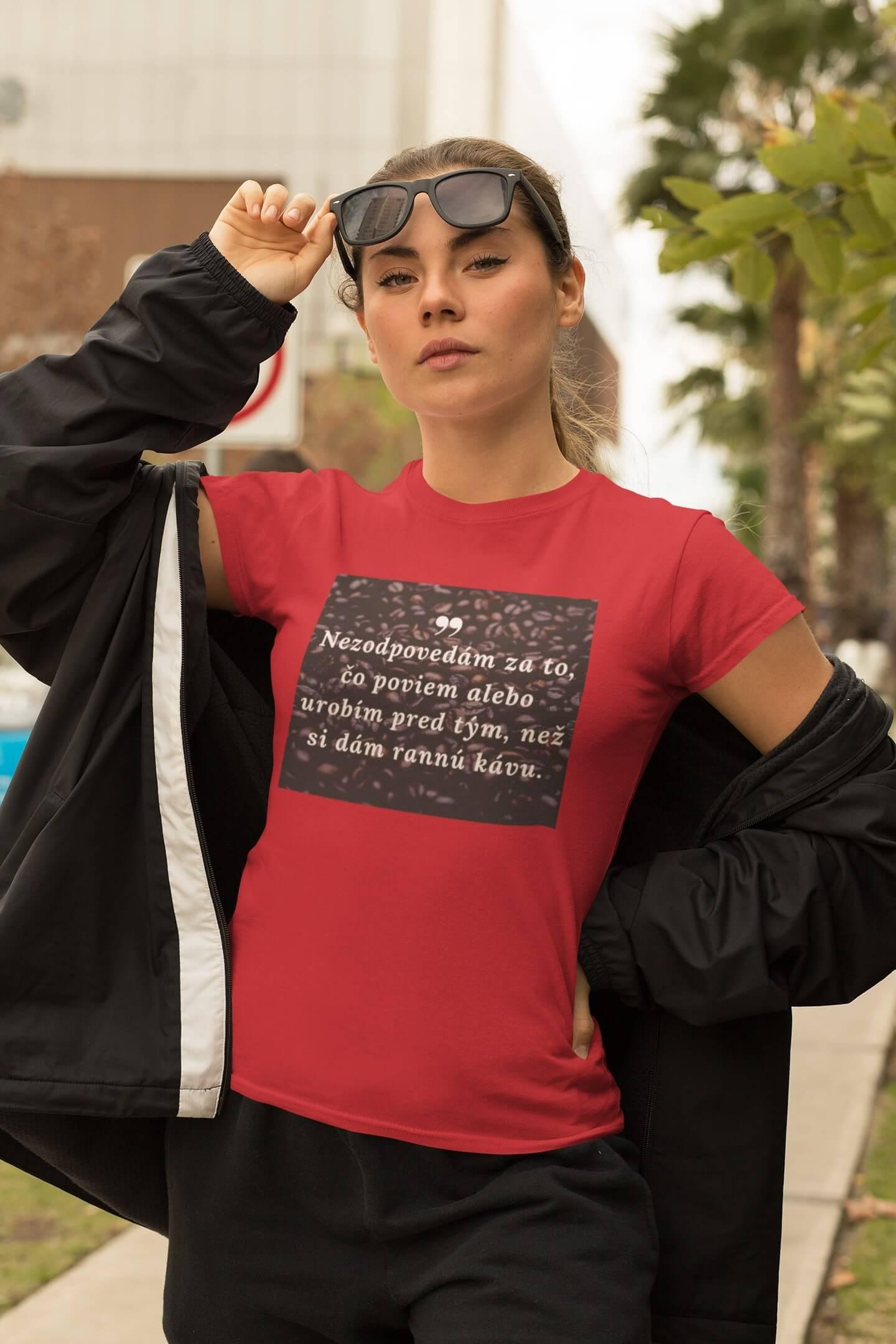 MMO Dámske tričko ranná káva Vyberte farbu:: Červená, Dámska veľkosť: XS