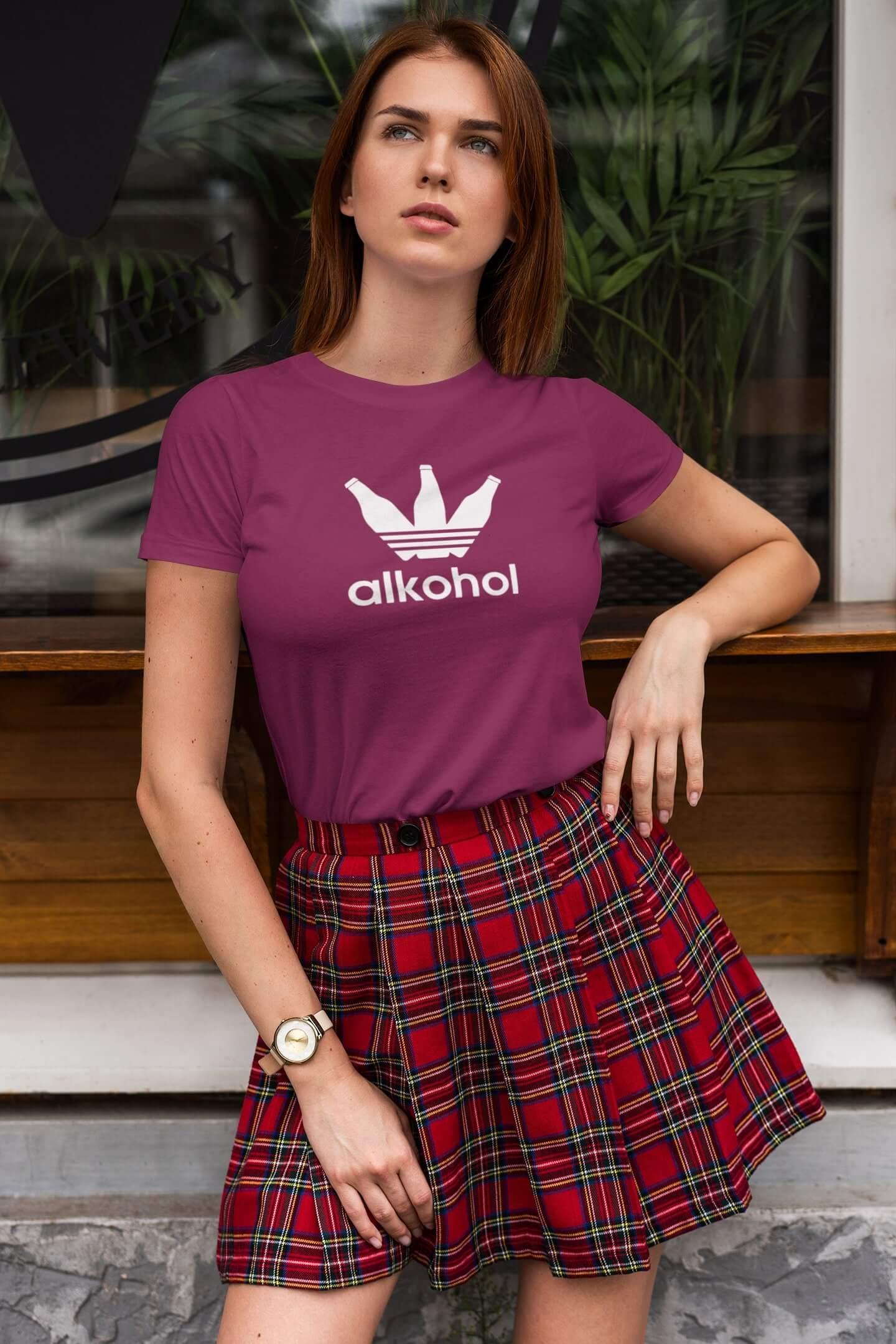 MMO Dámske tričko s Flaškami Vyberte farbu: Fuchsiovo červená, Vyberte veľkosť: XL
