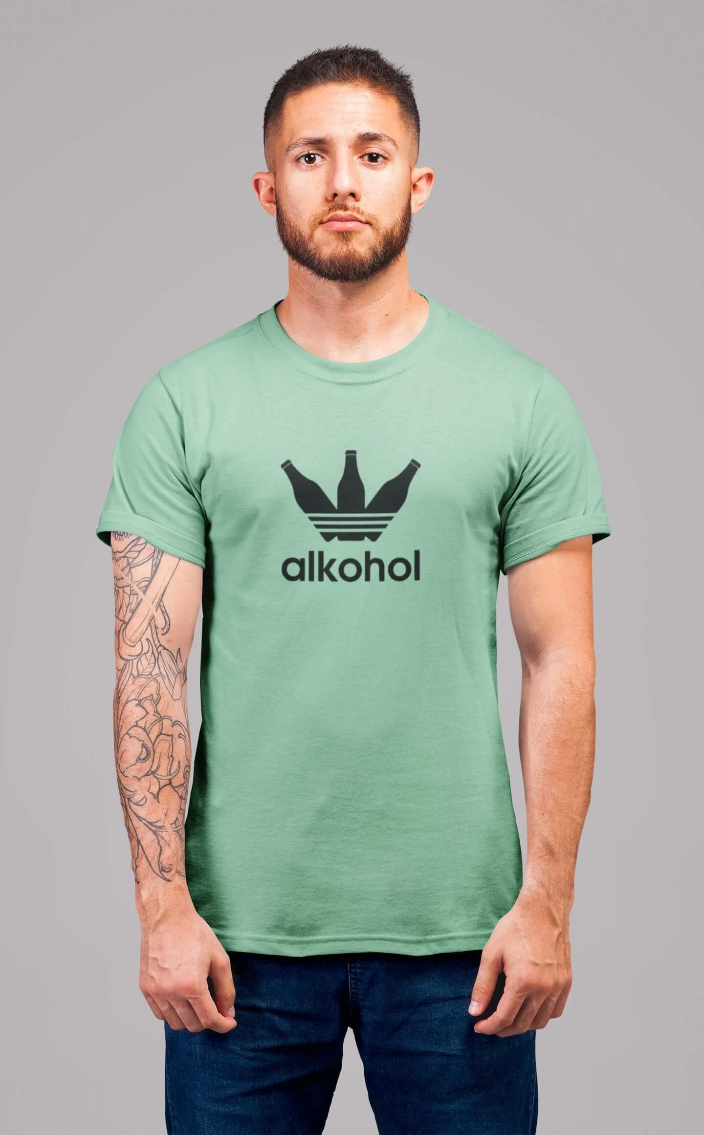 MMO Pánske tričko s flaškami Vyberte farbu: Mätová, Vyberte veľkosť: S