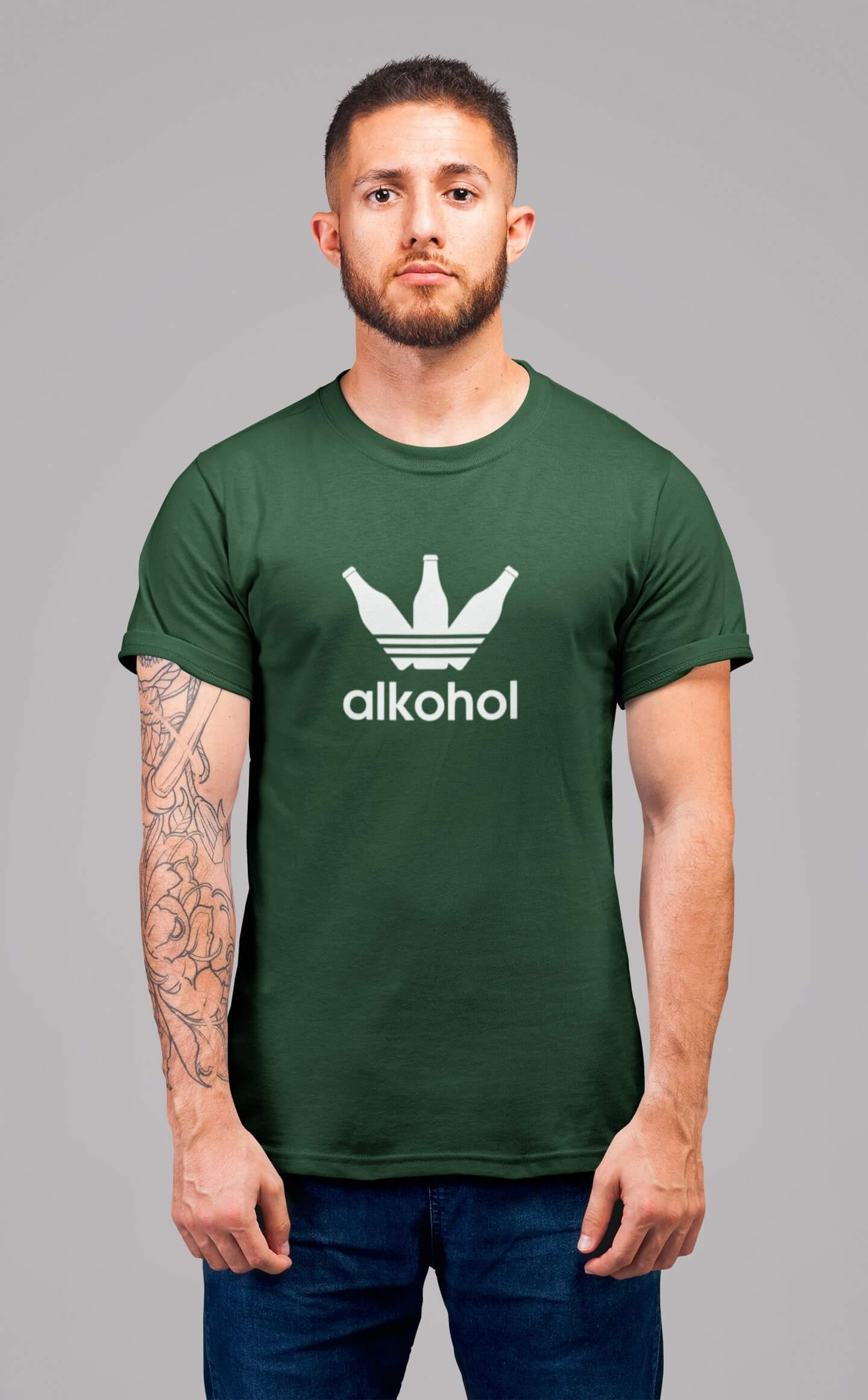 MMO Pánske tričko s flaškami Vyberte farbu: Fľaškovozelená, Vyberte veľkosť: S