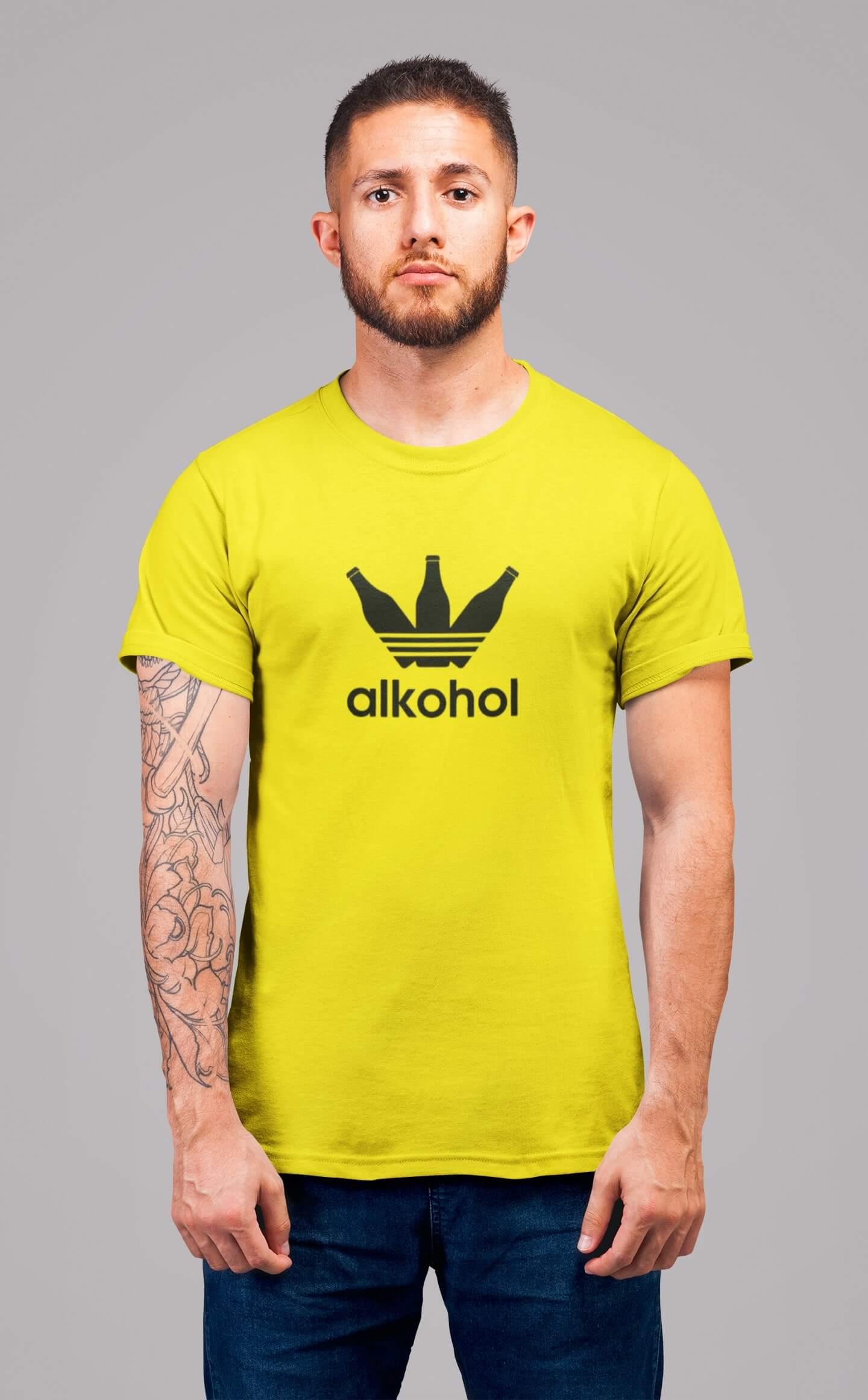 MMO Pánske tričko s flaškami Vyberte farbu: Citrónová, Vyberte veľkosť: S