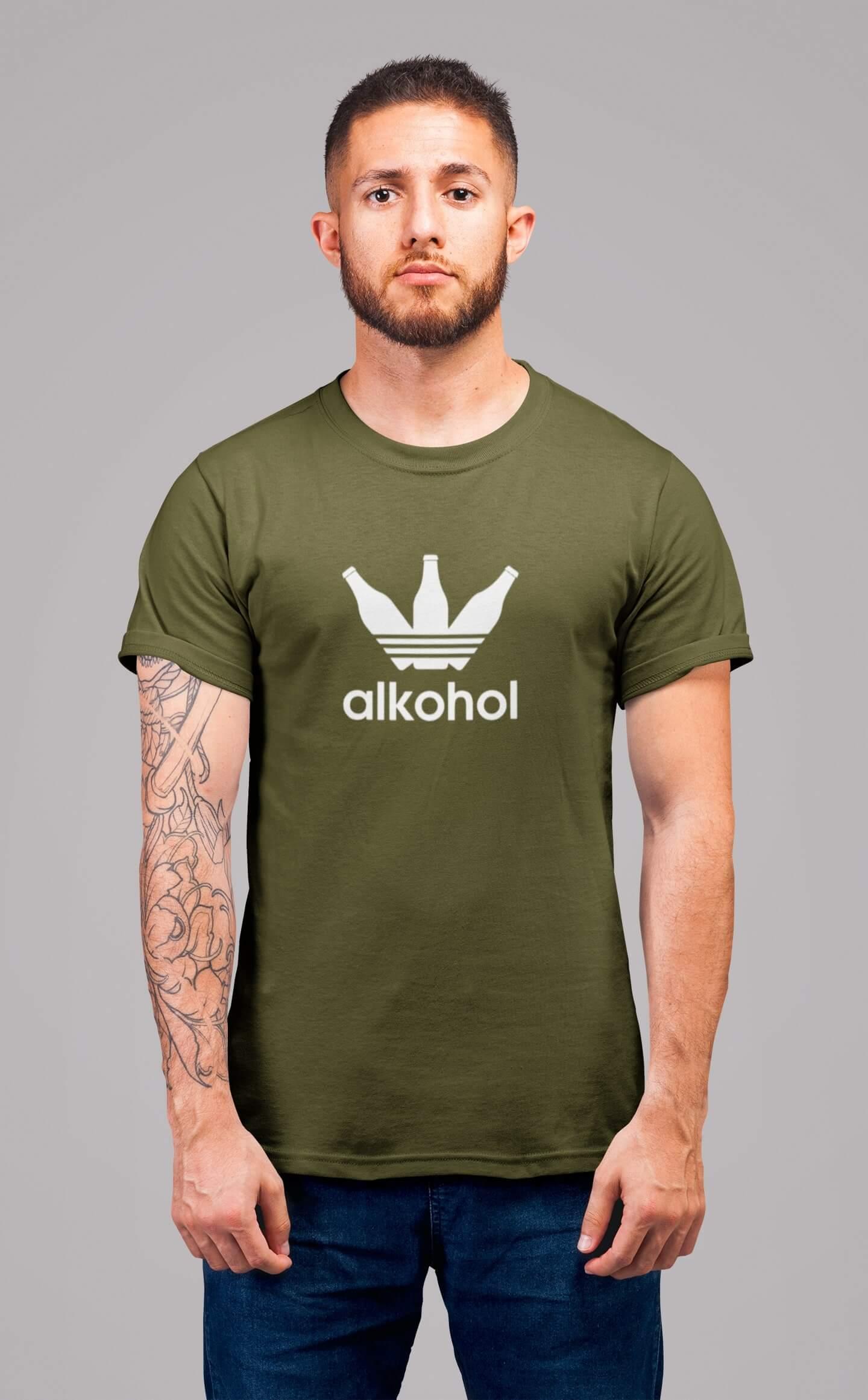 MMO Pánske tričko s flaškami Vyberte farbu: Khaki, Pánska veľkosť: S