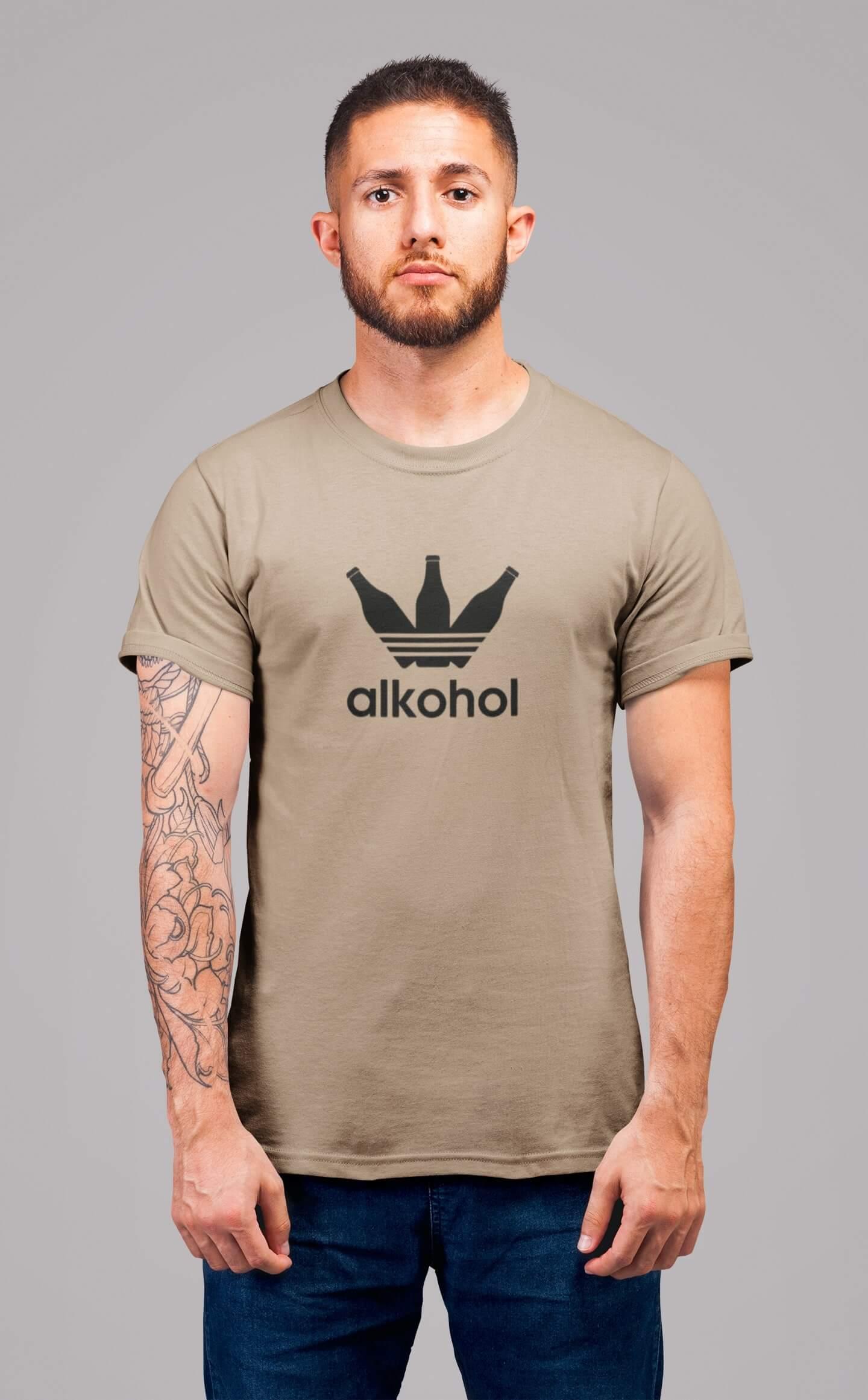 MMO Pánske tričko s flaškami Vyberte farbu: Piesková, Pánska veľkosť: S
