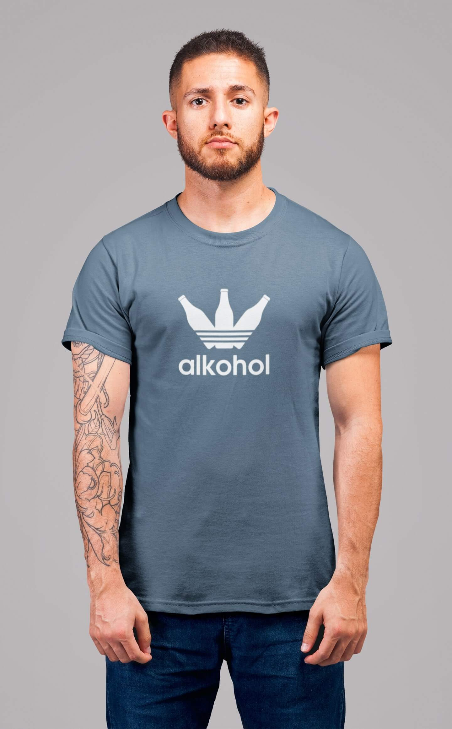MMO Pánske tričko s flaškami Vyberte farbu: Denim, Pánska veľkosť: S