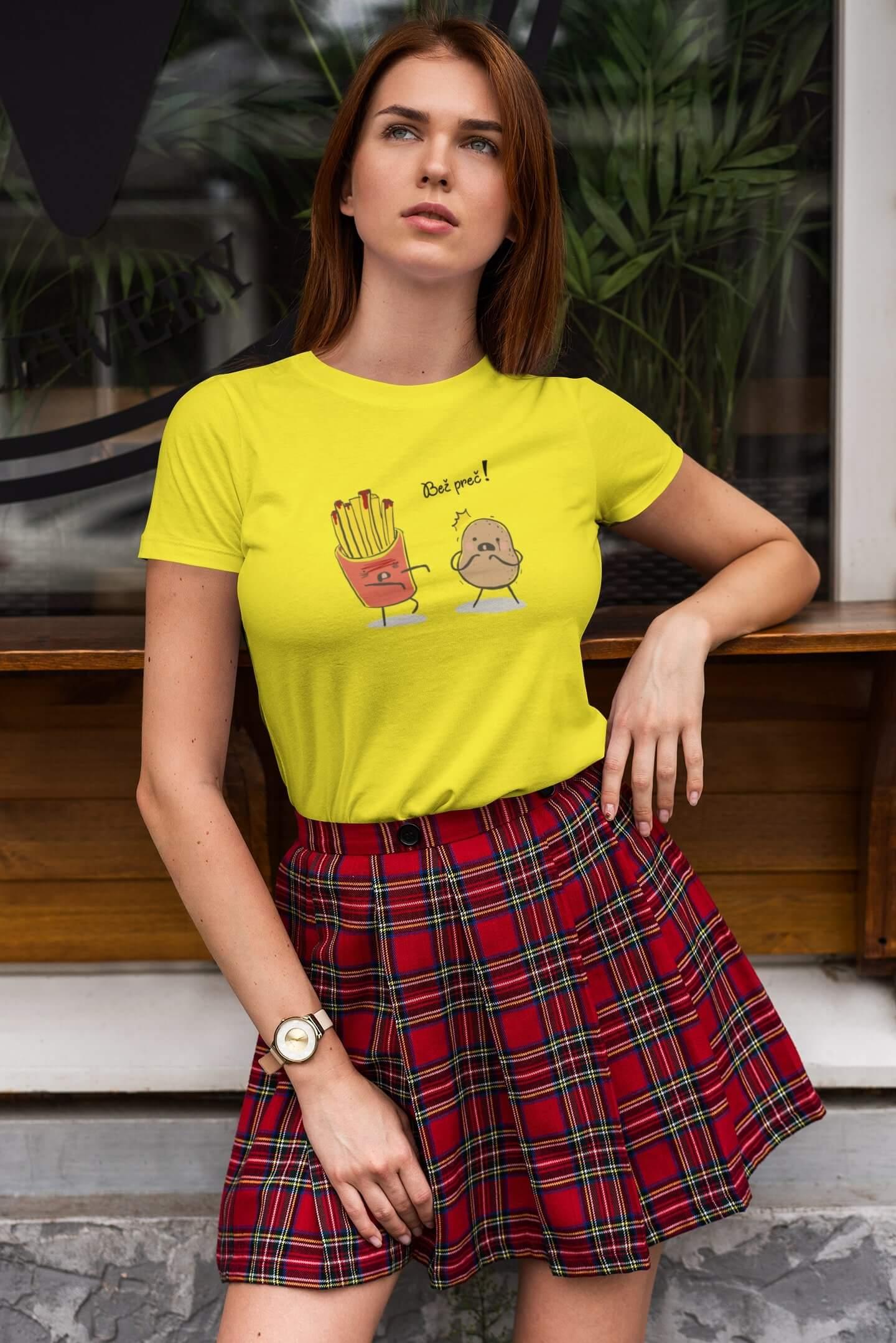 MMO Dámske tričko Bež preč! Vyberte farbu: Citrónová, Vyberte veľkosť: M