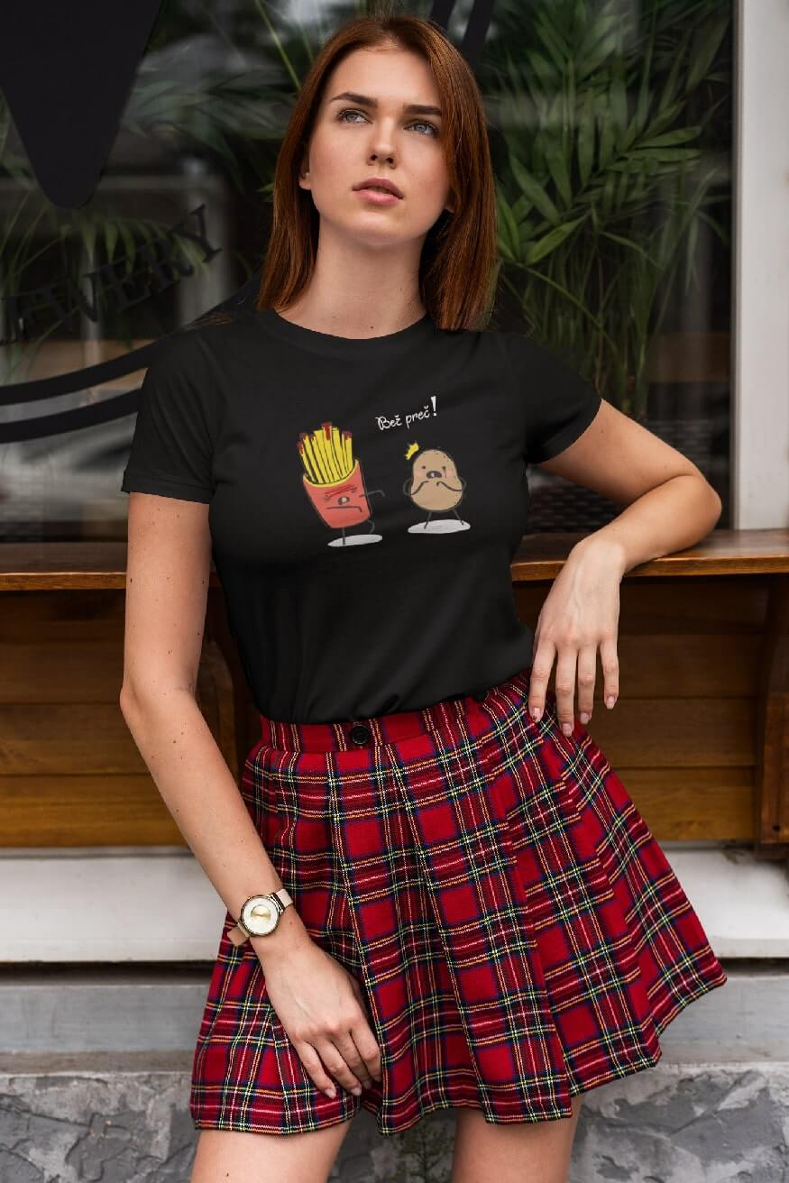 MMO Dámske tričko Bež preč! Vyberte farbu: Čierna, Dámska veľkosť: XS