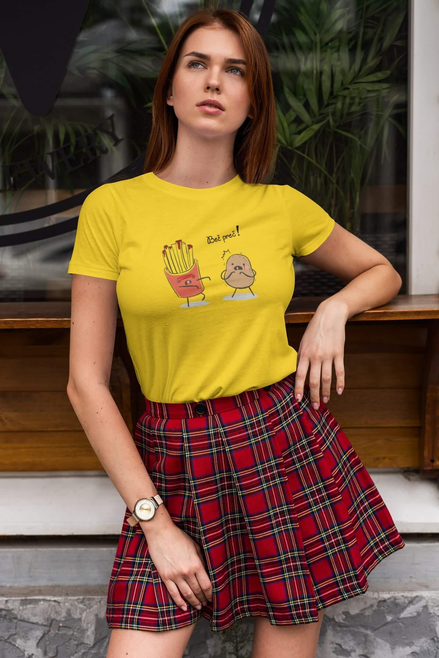 MMO Dámske tričko Bež preč! Vyberte farbu: Žltá, Dámska veľkosť: XS