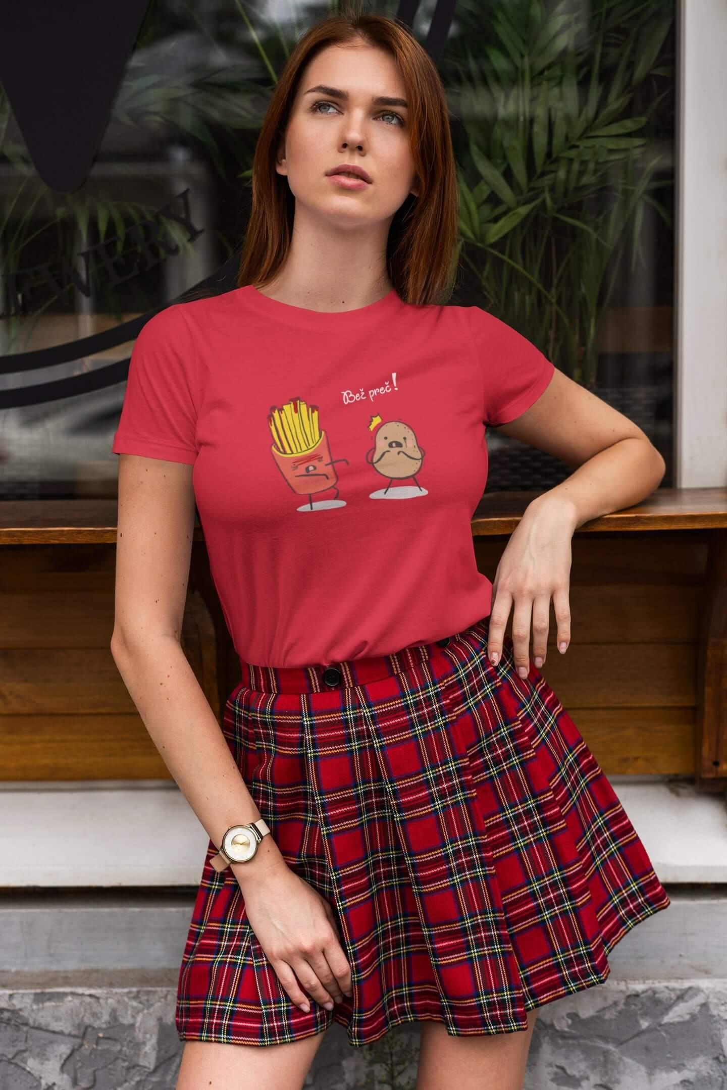 MMO Dámske tričko Bež preč! Vyberte farbu: Červená, Dámska veľkosť: XS