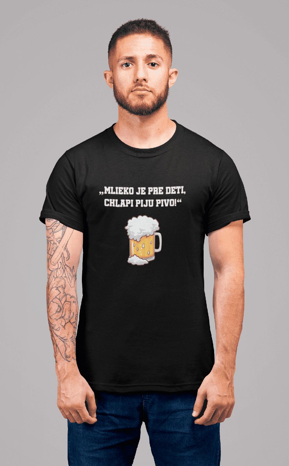 MMO Pánske tričko Mlieko je pre deti Vyberte farbu: Čierna, Vyberte veľkosť: S