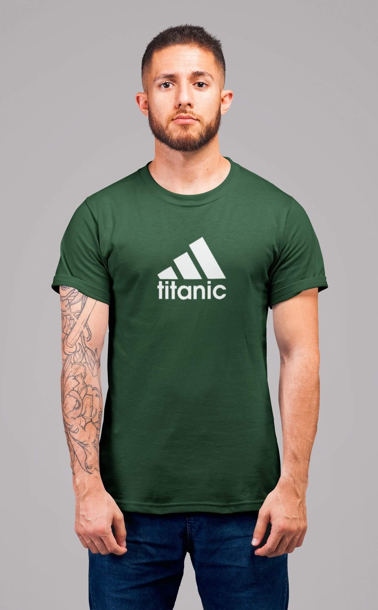 MMO Pánske tričko Titanic Vyberte farbu: Fľaškovozelená, Vyberte veľkosť: 2XL