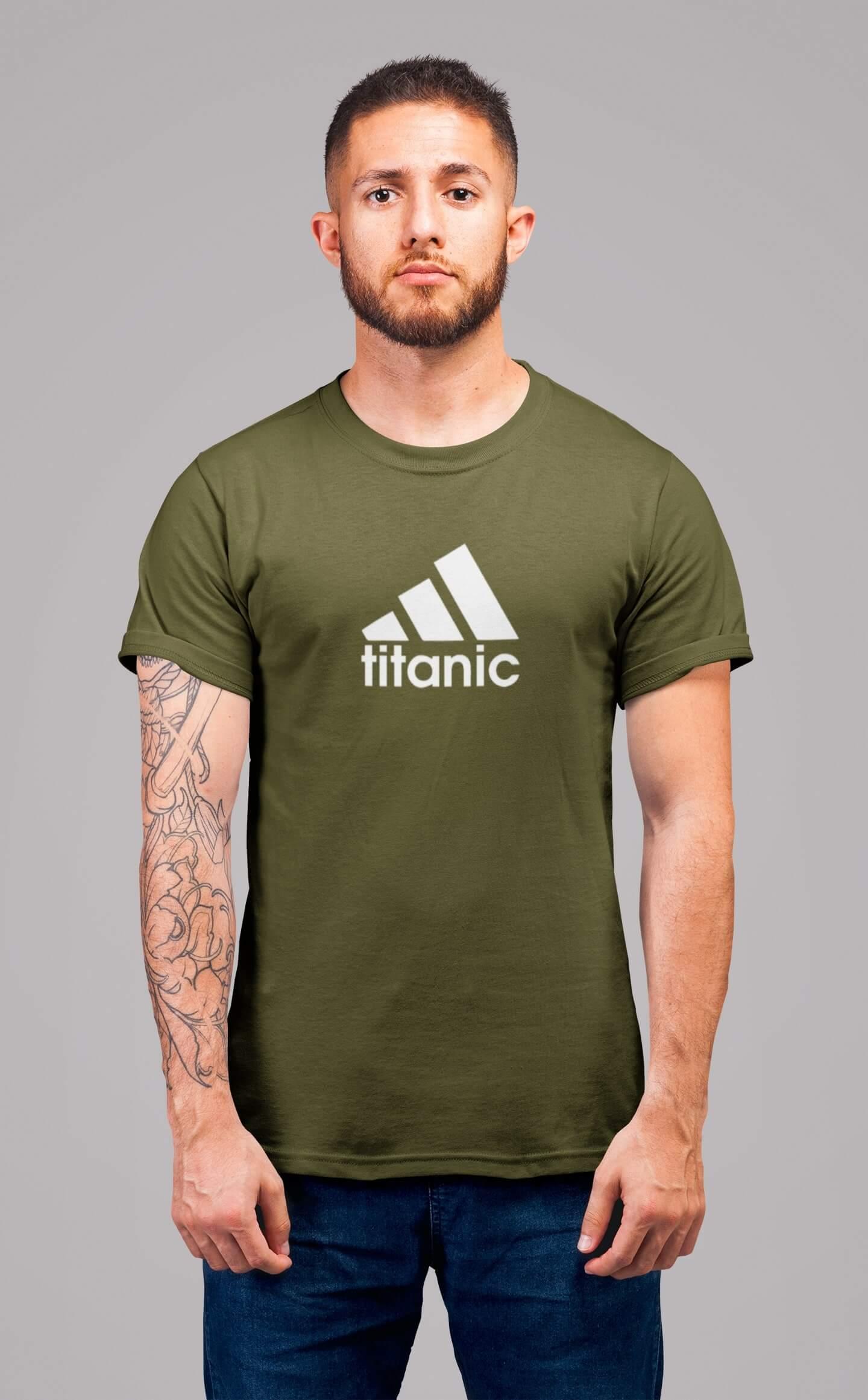 MMO Pánske tričko Titanic Vyberte farbu: Khaki, Vyberte veľkosť: 2XL