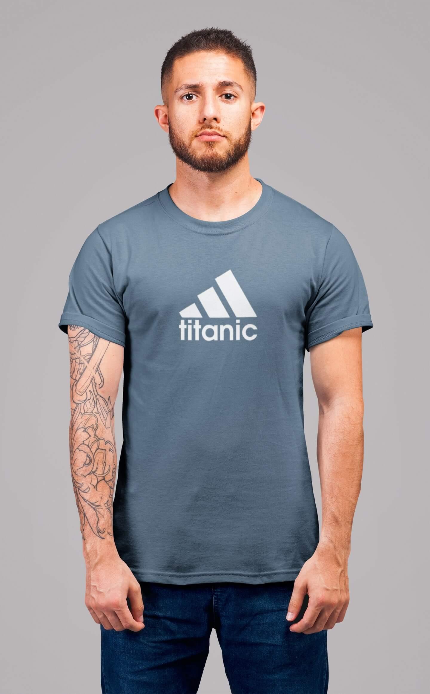 MMO Pánske tričko Titanic Vyberte farbu: Denim, Vyberte veľkosť: 2XL