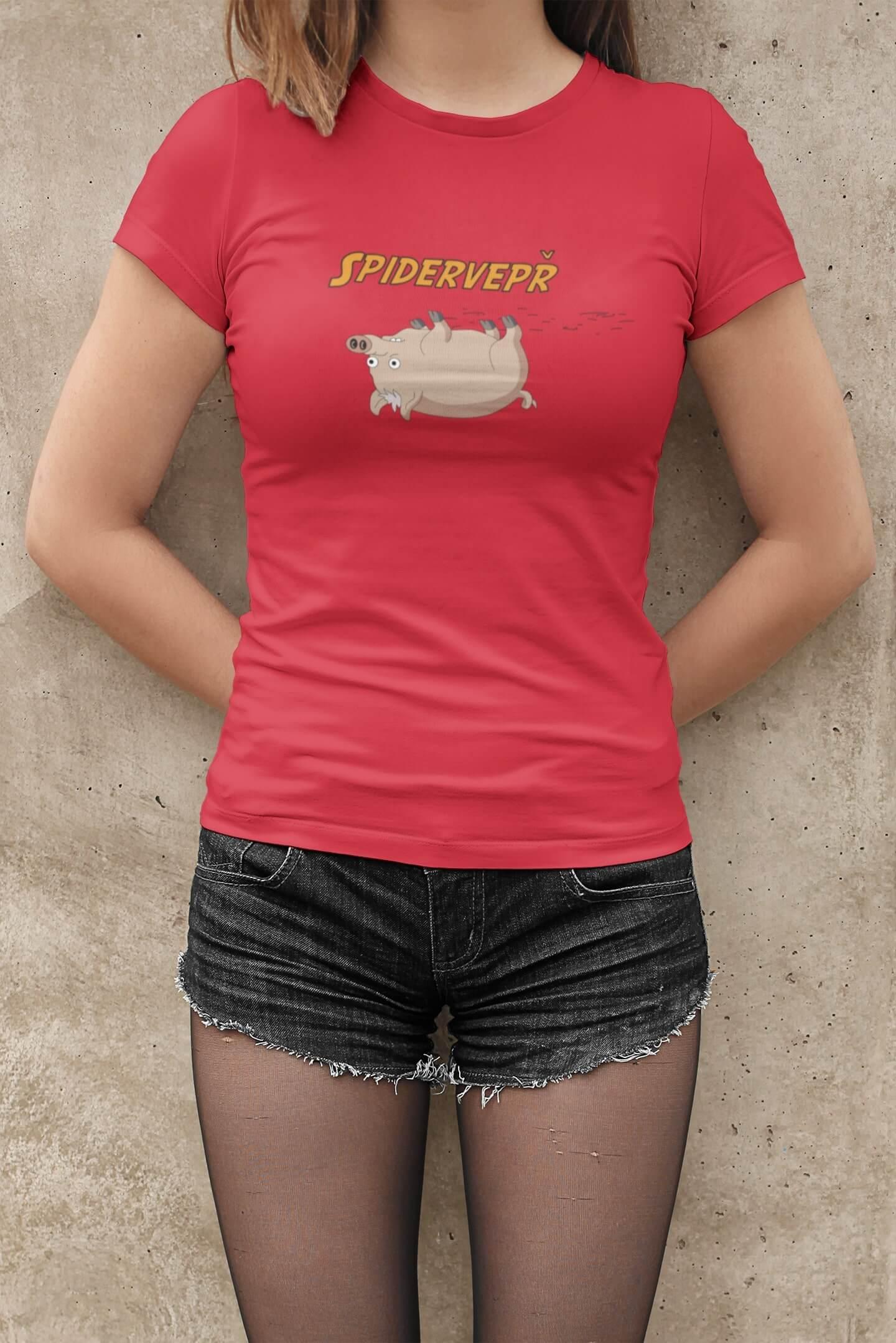 MMO Dámske tričko Spidervepř Vyberte farbu: Červená, Dámska veľkosť: M