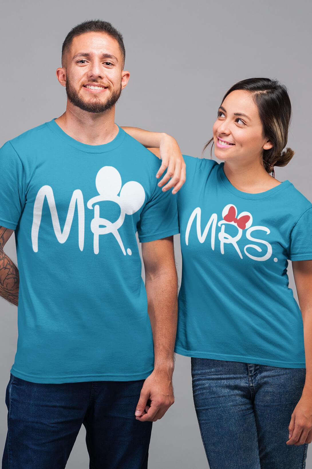 MMO Tričká pre páry MR a MRS Vyberte farbu:: Khaki, Dámska veľkosť: S, Pánska veľkosť: S