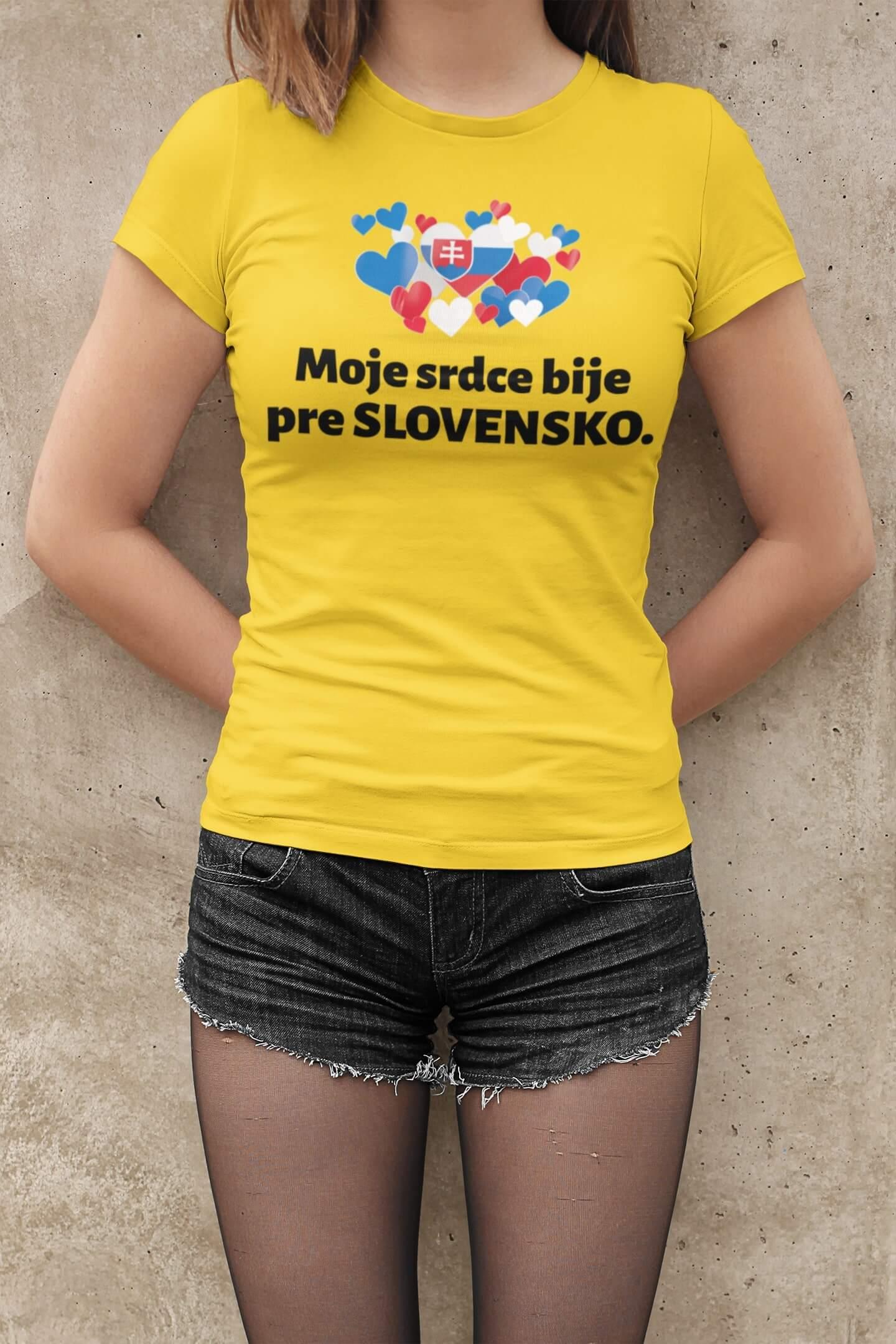 MMO Dámske tričko Srdce bije pre Slovensko Vyberte farbu: Žltá, Dámska veľkosť: M