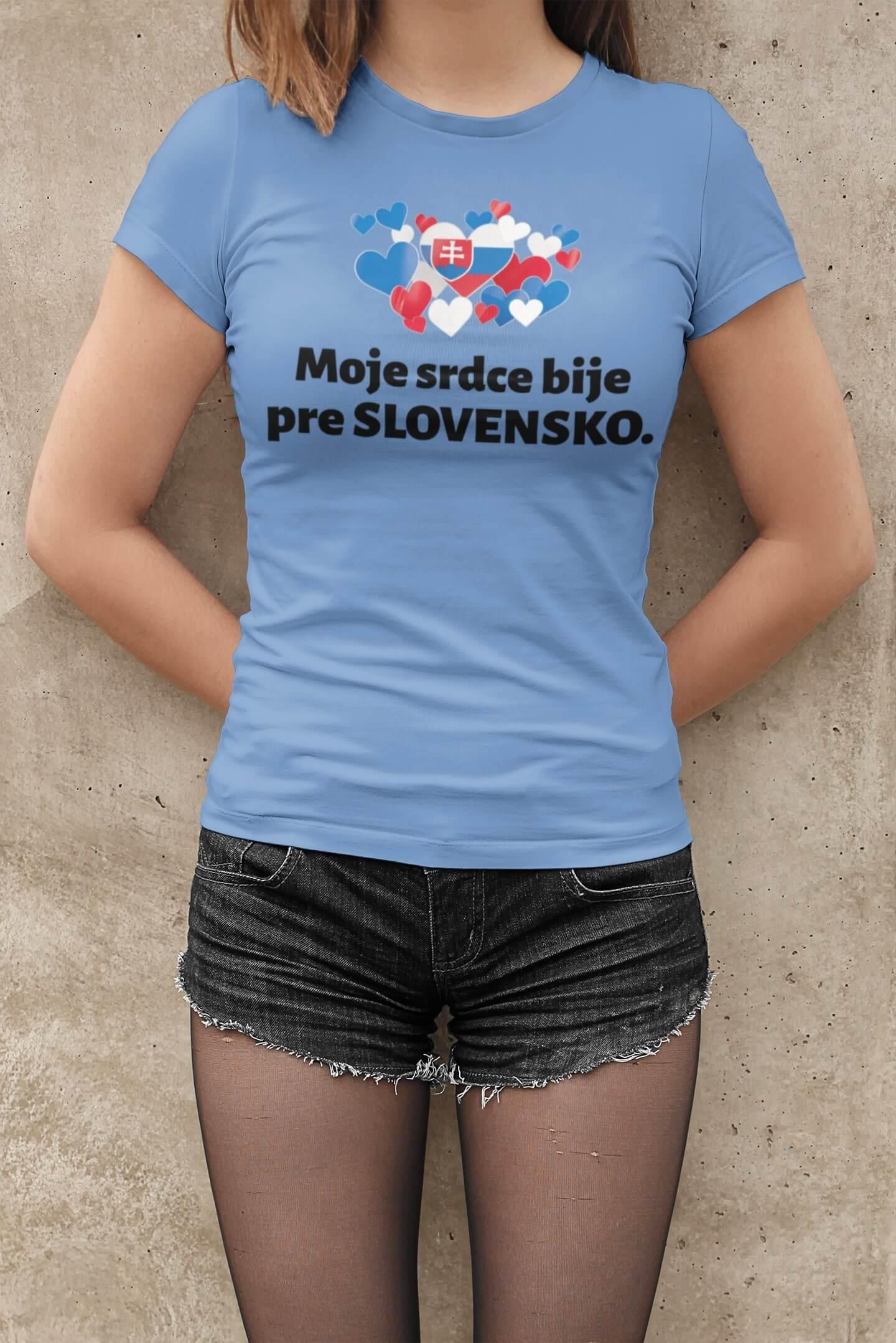 MMO Dámske tričko Srdce bije pre Slovensko Vyberte farbu: Svetlomodrá, Dámska veľkosť: M