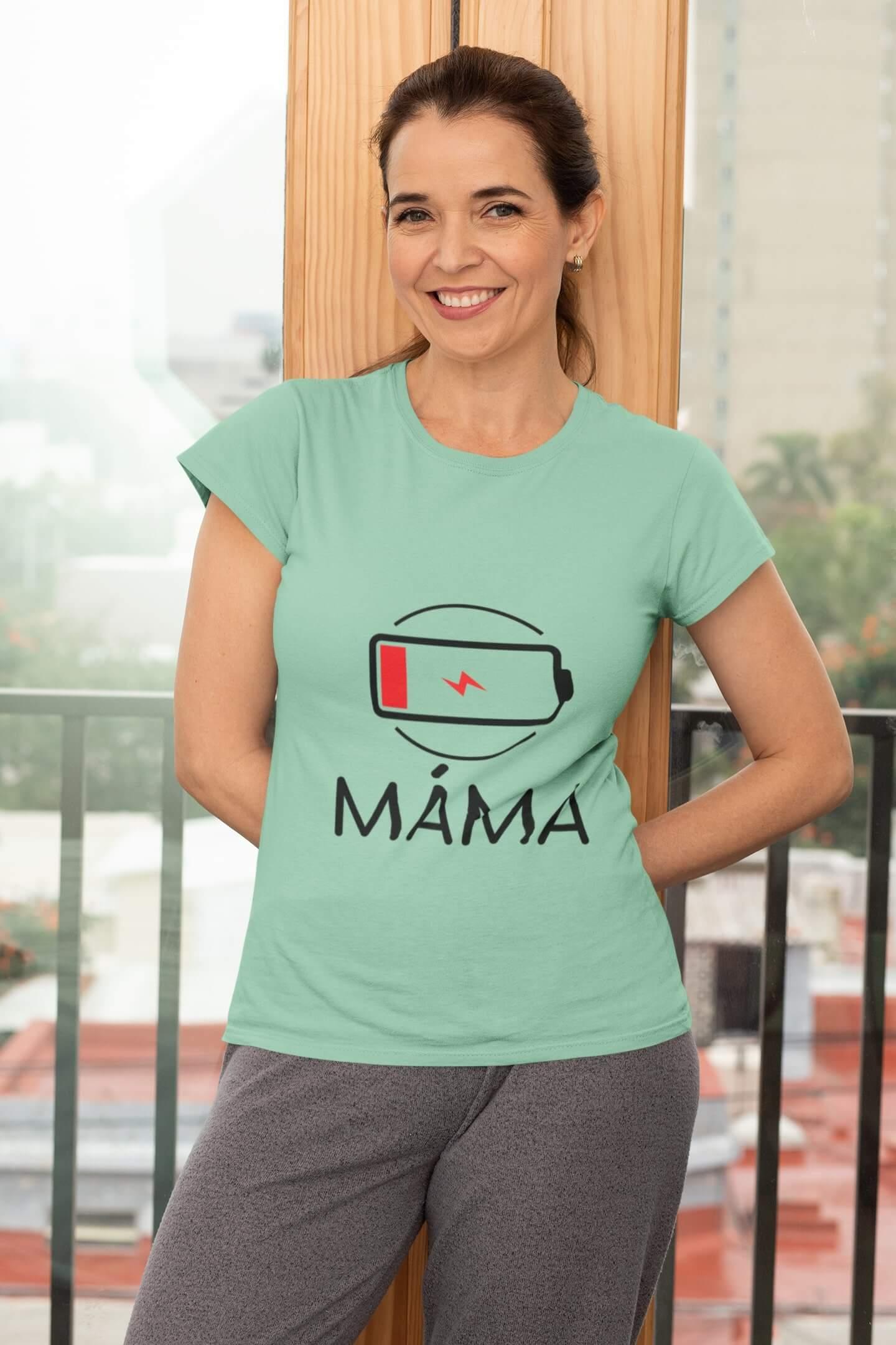 MMO Dámske tričko pre mamu baterka Vyberte farbu: Mätová, Vyberte veľkosť: XS